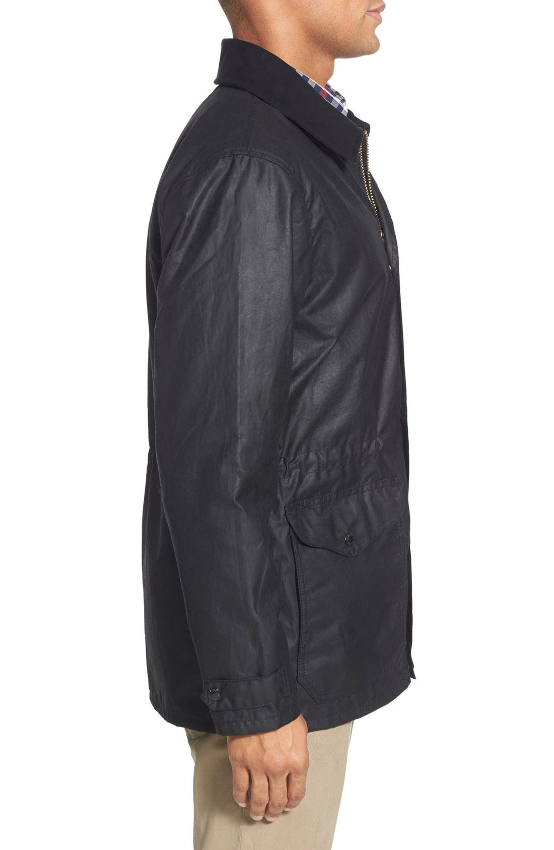 'Cover Cloth Mile Marker' Waxed Cotton Coat,                             Alternate thumbnail 4, color,                             001