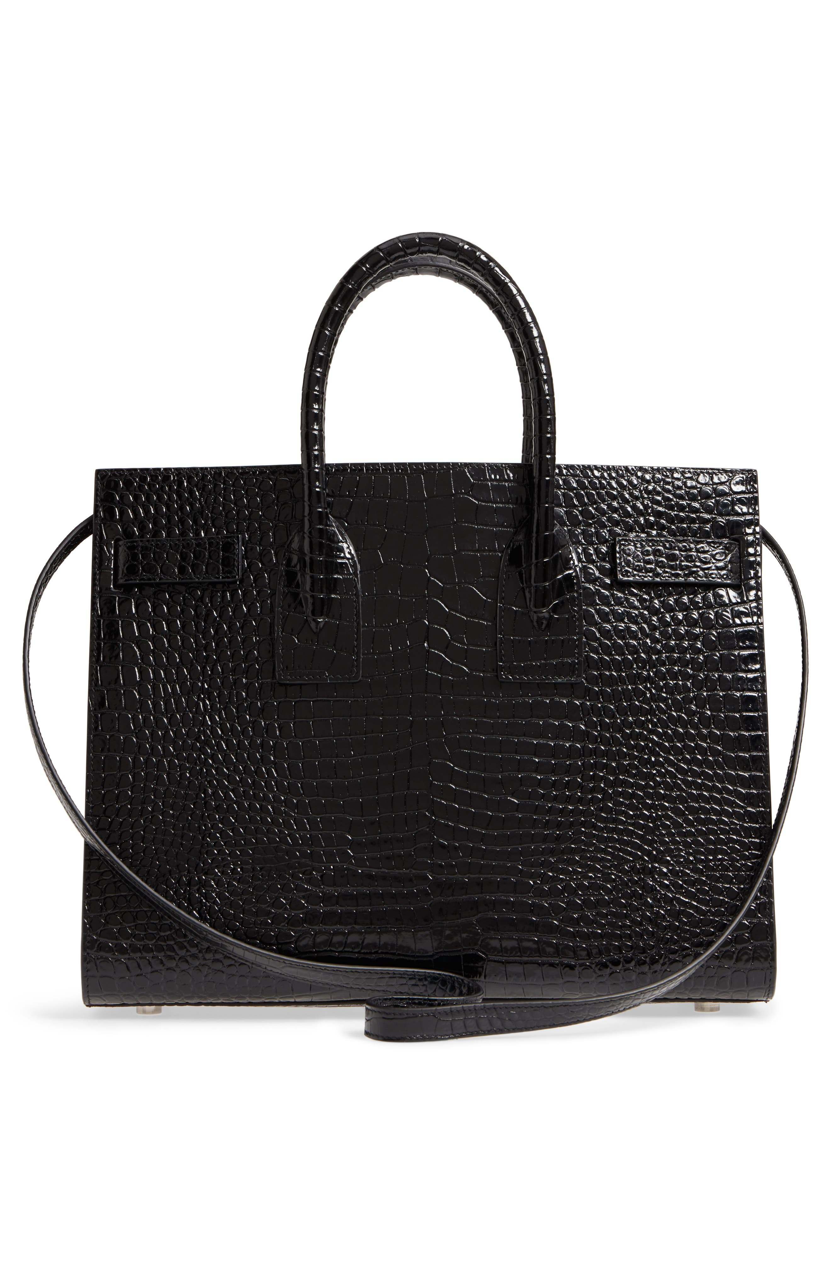 Small Sac de Jour Croc Embossed Calfskin Leather Tote,                             Alternate thumbnail 3, color,                             NERO/ NERO