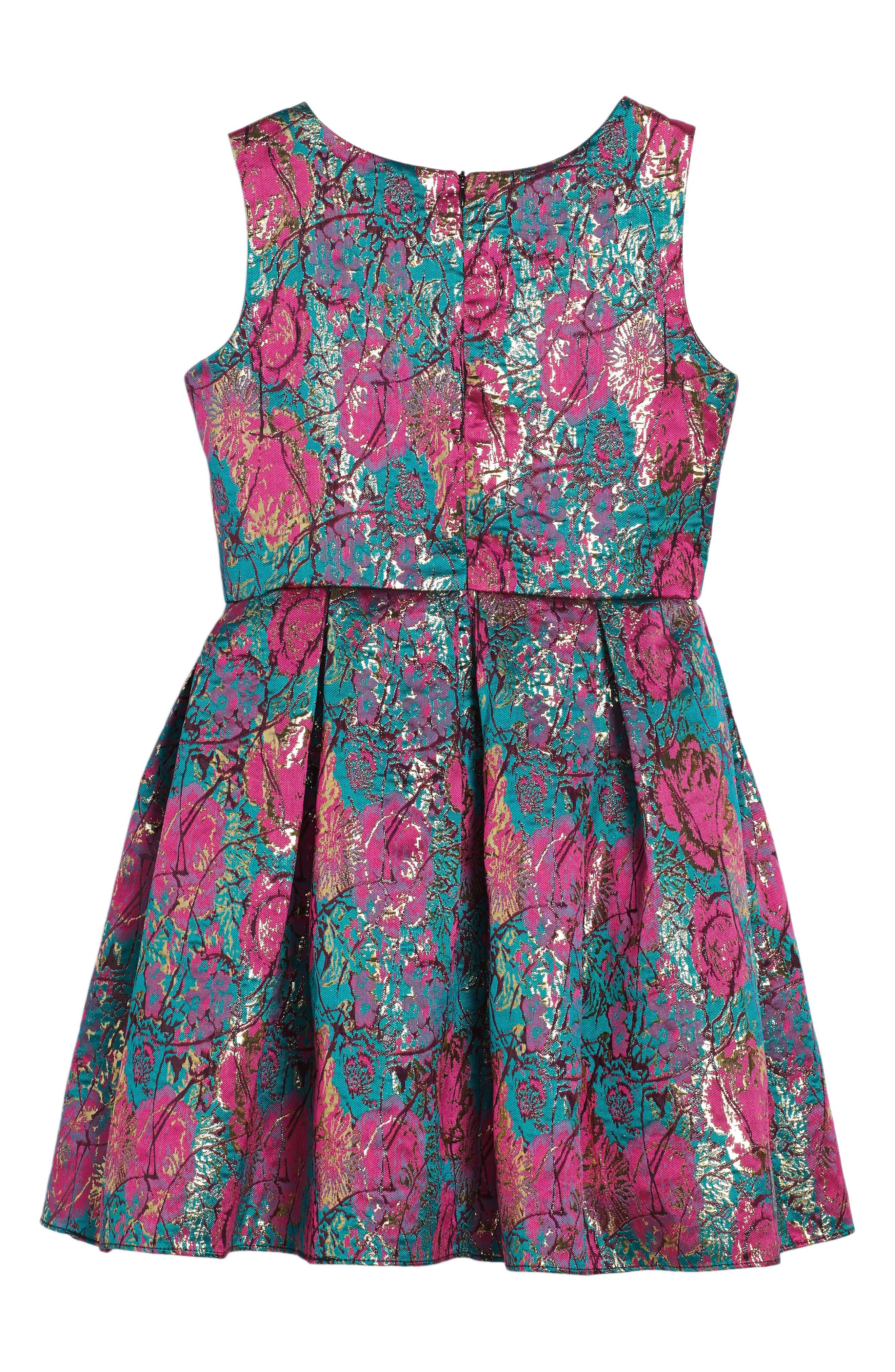 Floral Brocade Fit & Flare Dress,                             Alternate thumbnail 2, color,                             670