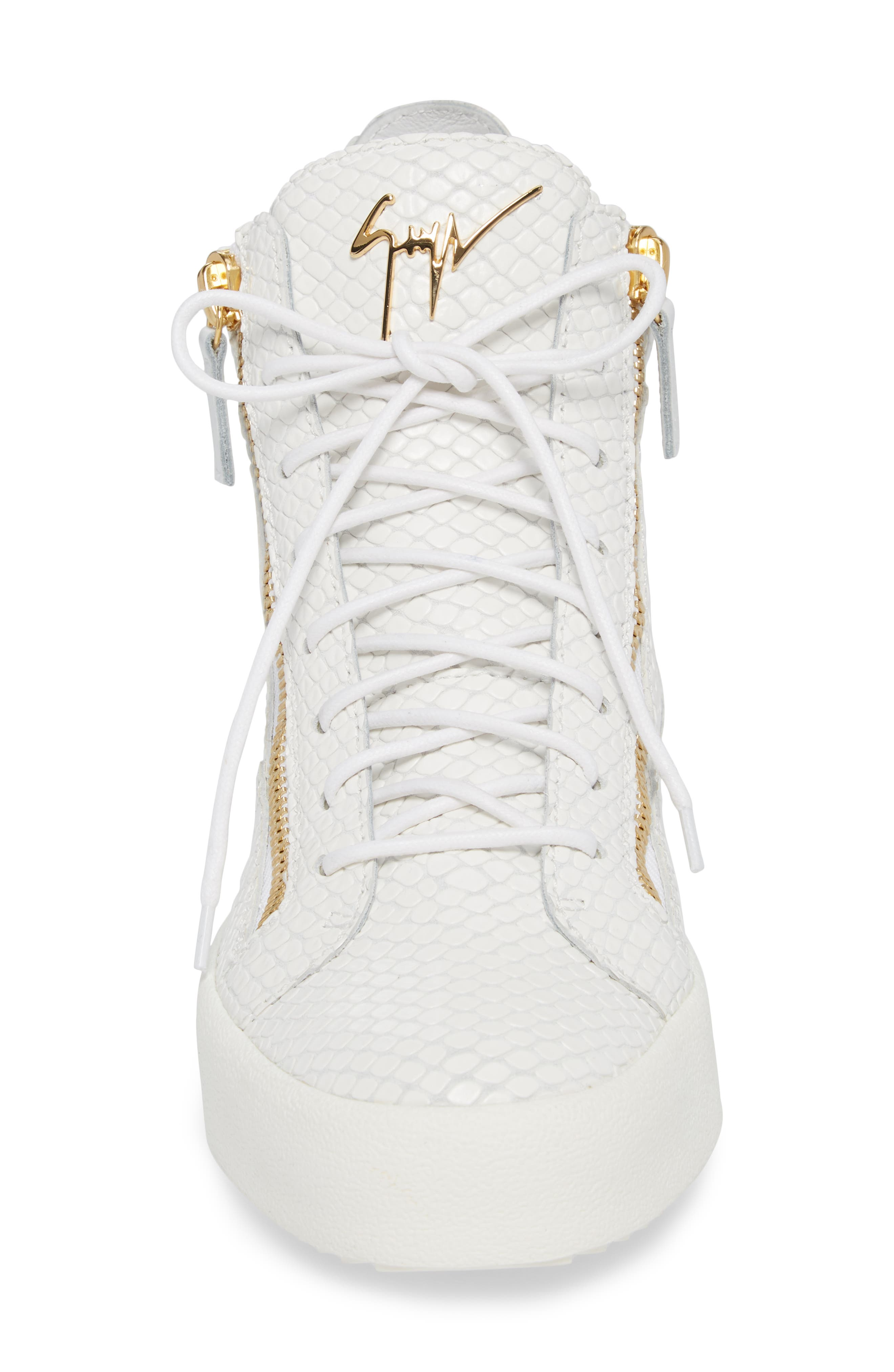 Snake Embossed High Top Sneaker,                             Alternate thumbnail 4, color,                             BIANCO