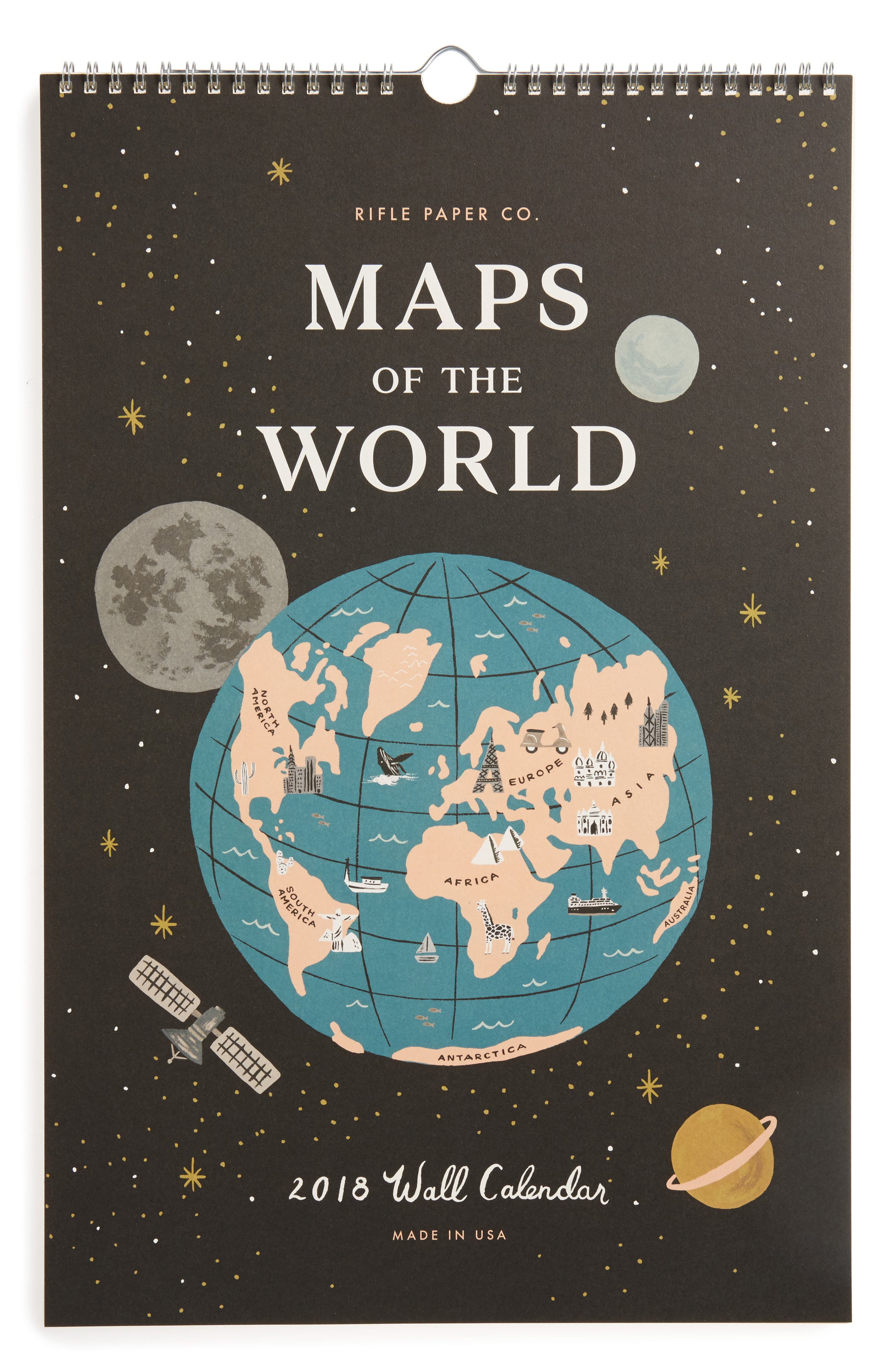 RIFLE PAPER CO.,                             Maps of the World 2018 Calendar,                             Main thumbnail 1, color,                             001