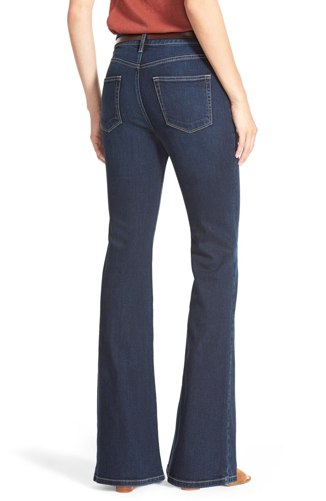 High Rise Flare Leg Jeans,                             Alternate thumbnail 4, color,                             400