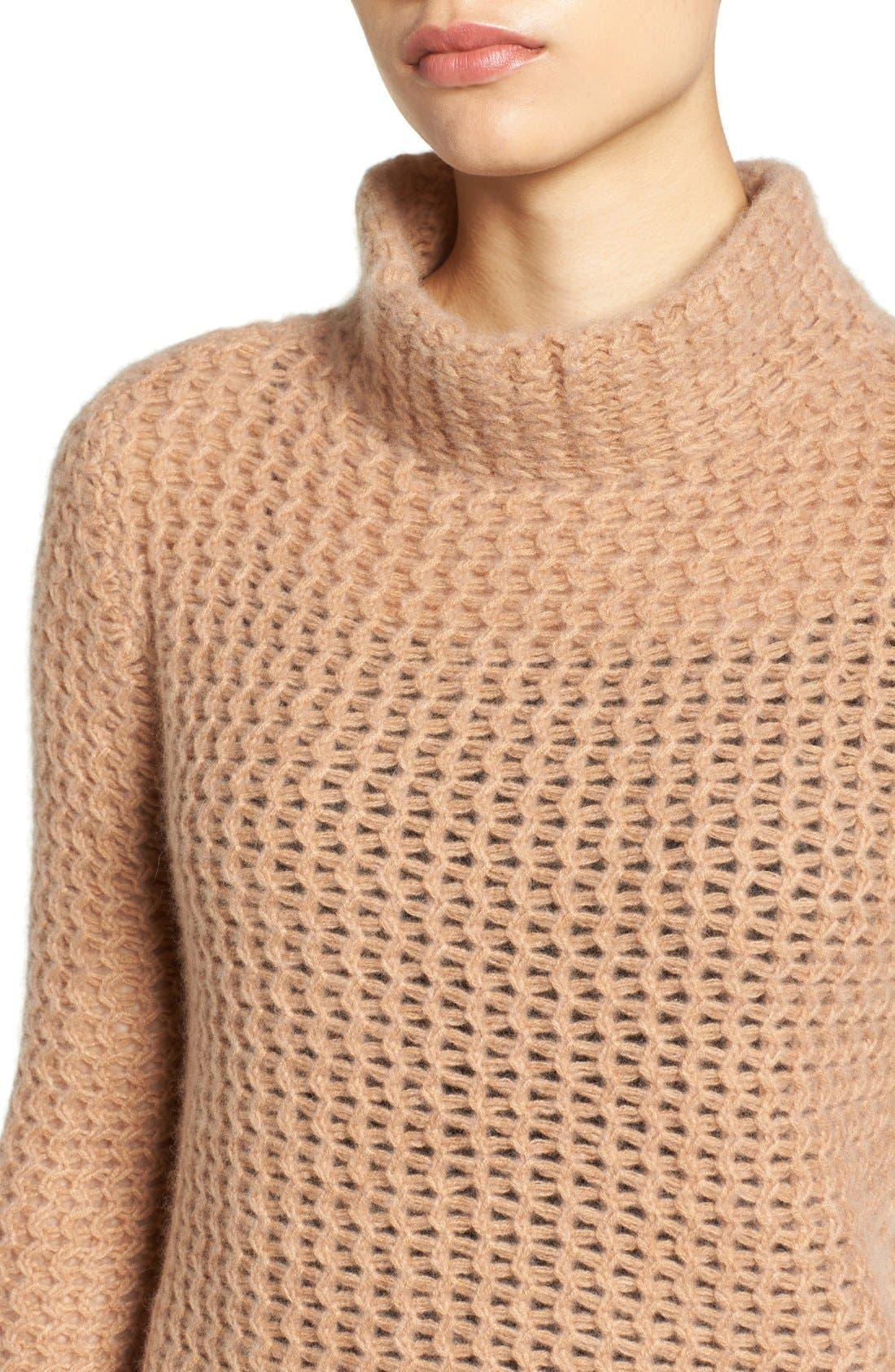 Stitch Detail Cashmere Mock Neck Sweater,                             Alternate thumbnail 8, color,