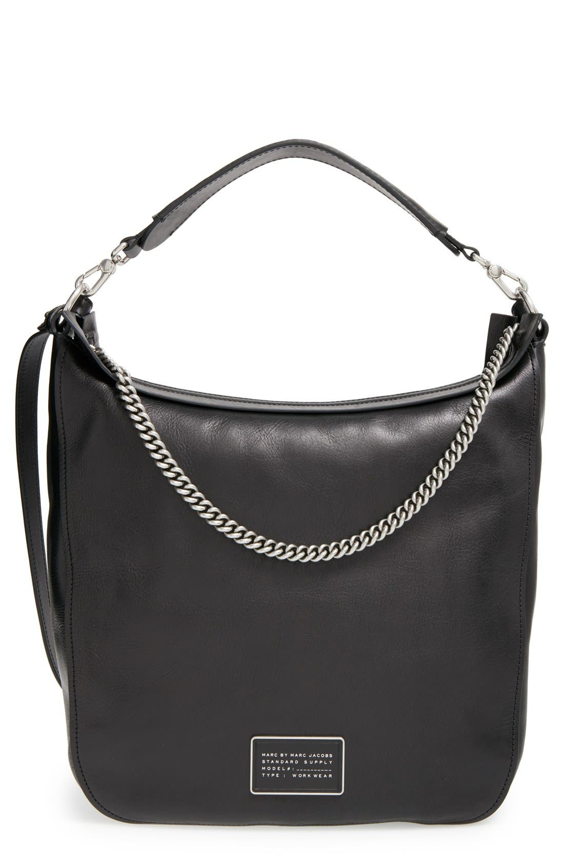 MARC BY MARC JACOBS 'Top of the Chain' Leather Hobo, Main, color, 001
