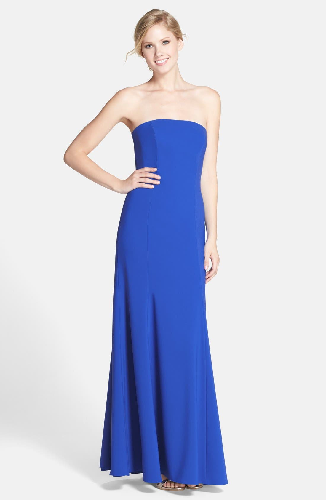 Strapless Crepe Trumpet Gown,                             Main thumbnail 2, color,