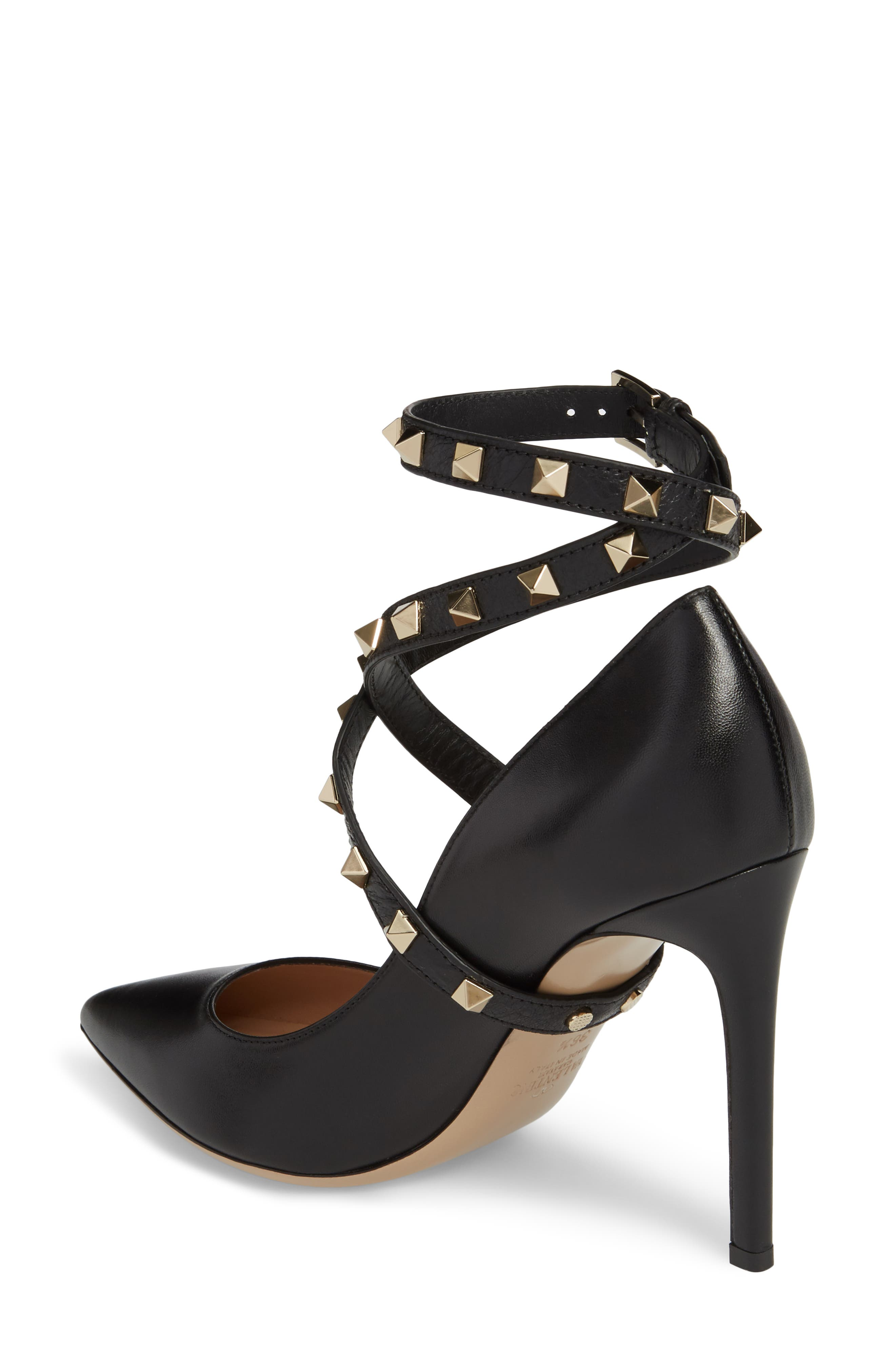 Rockstud Wrap Pump,                             Alternate thumbnail 2, color,                             BLACK