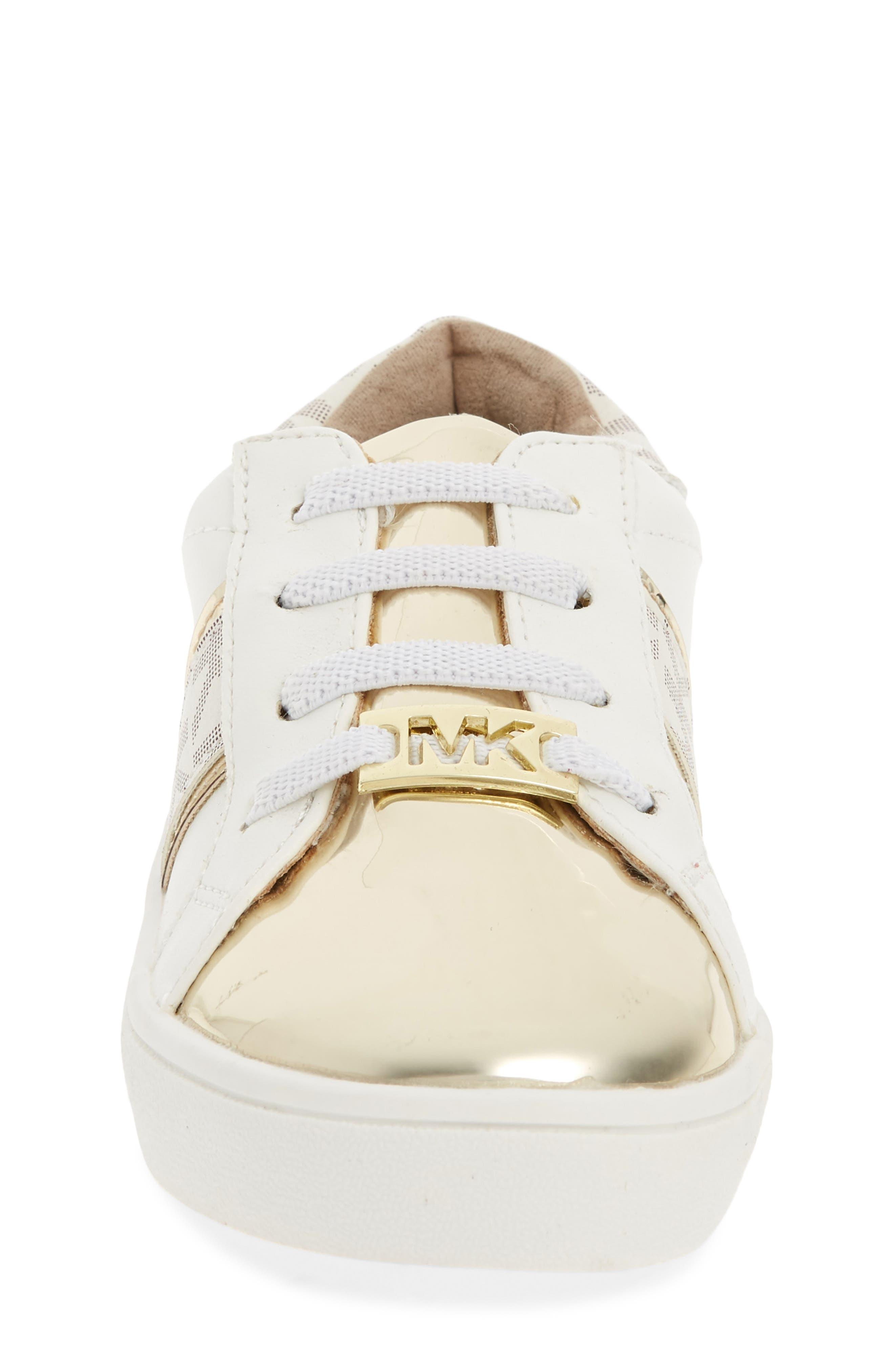 MICHAEL MICHAEL KORS,                             Ivy Frankie Metallic Logo Sneaker,                             Alternate thumbnail 4, color,                             100