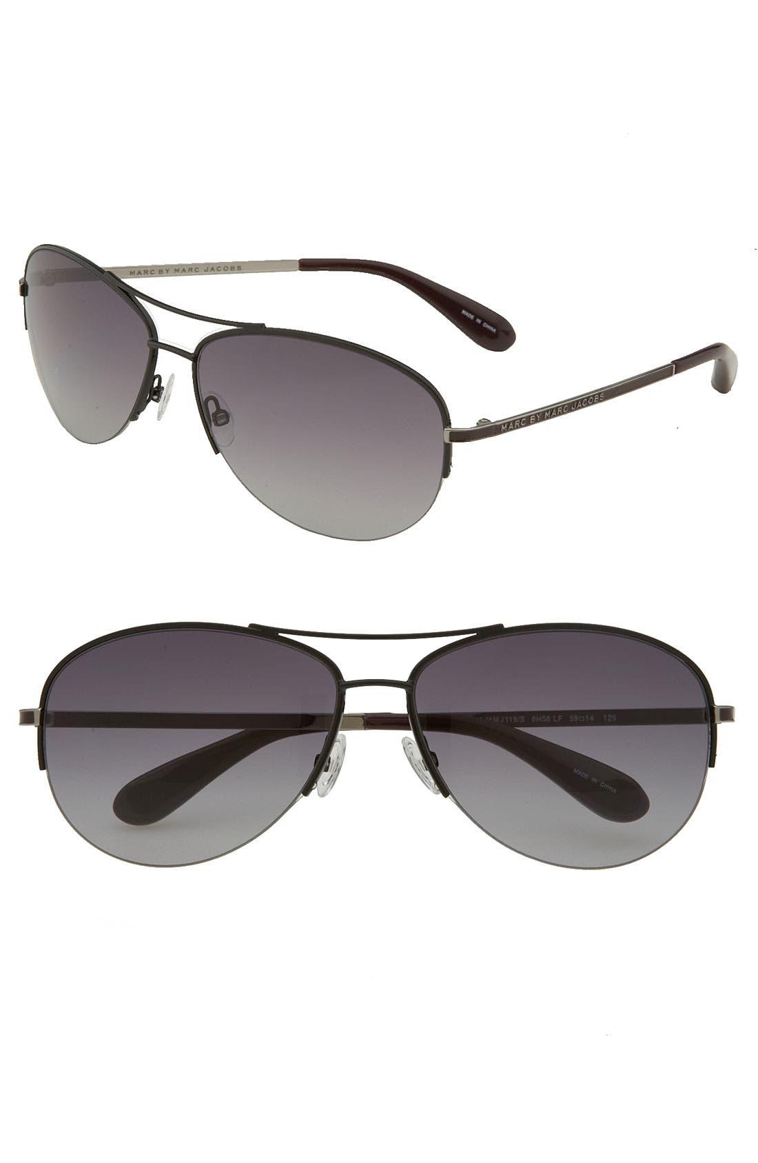 59mm Rimless Aviator Sunglasses,                         Main,                         color, 001