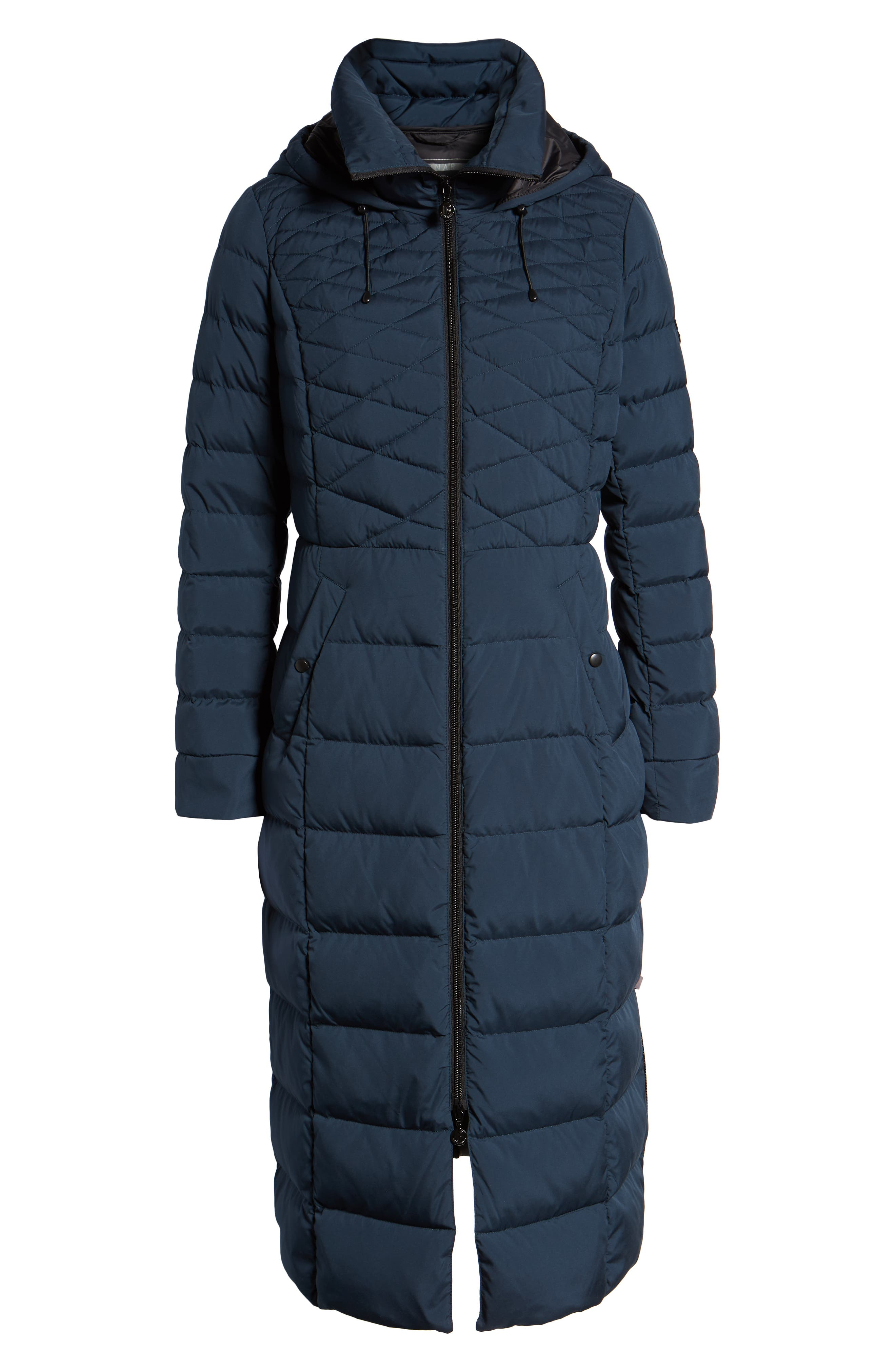 Quilted Long Coat with Down & PrimaLoft<sup>®</sup> Fill,                             Alternate thumbnail 6, color,                             DEEP WATER