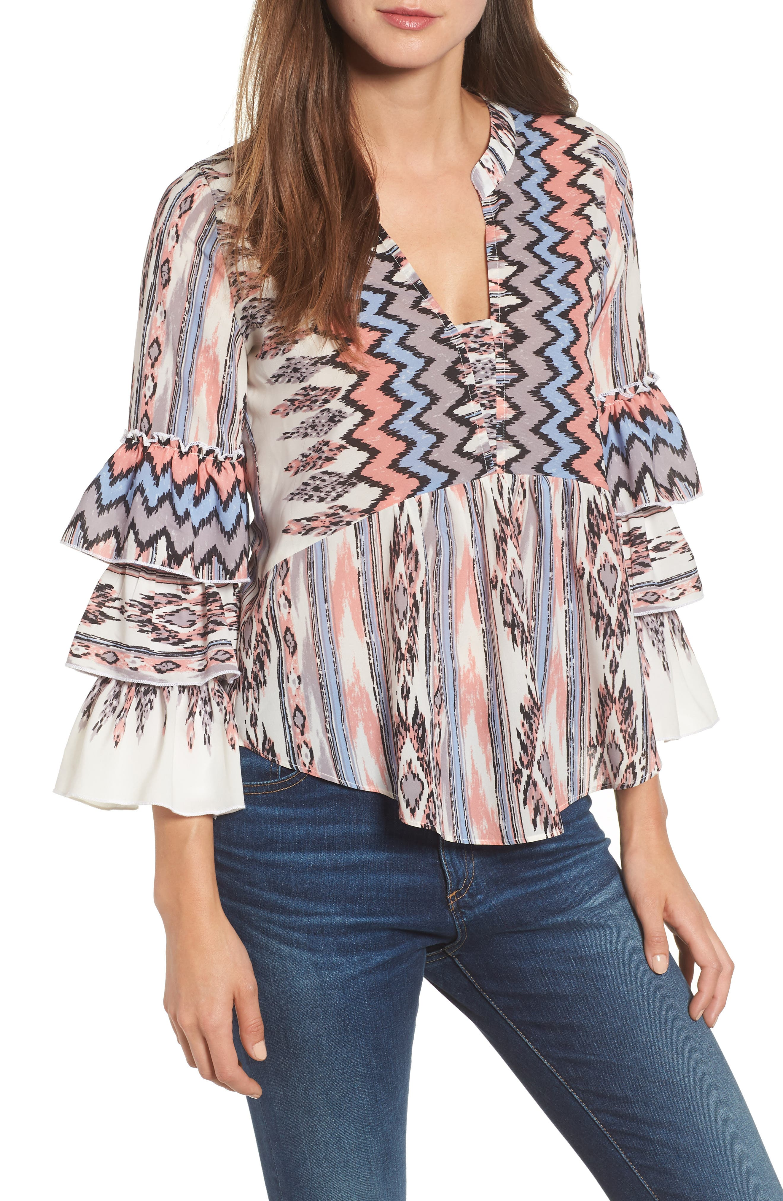 Adams Ruffled Sleeve Blouse,                             Main thumbnail 1, color,