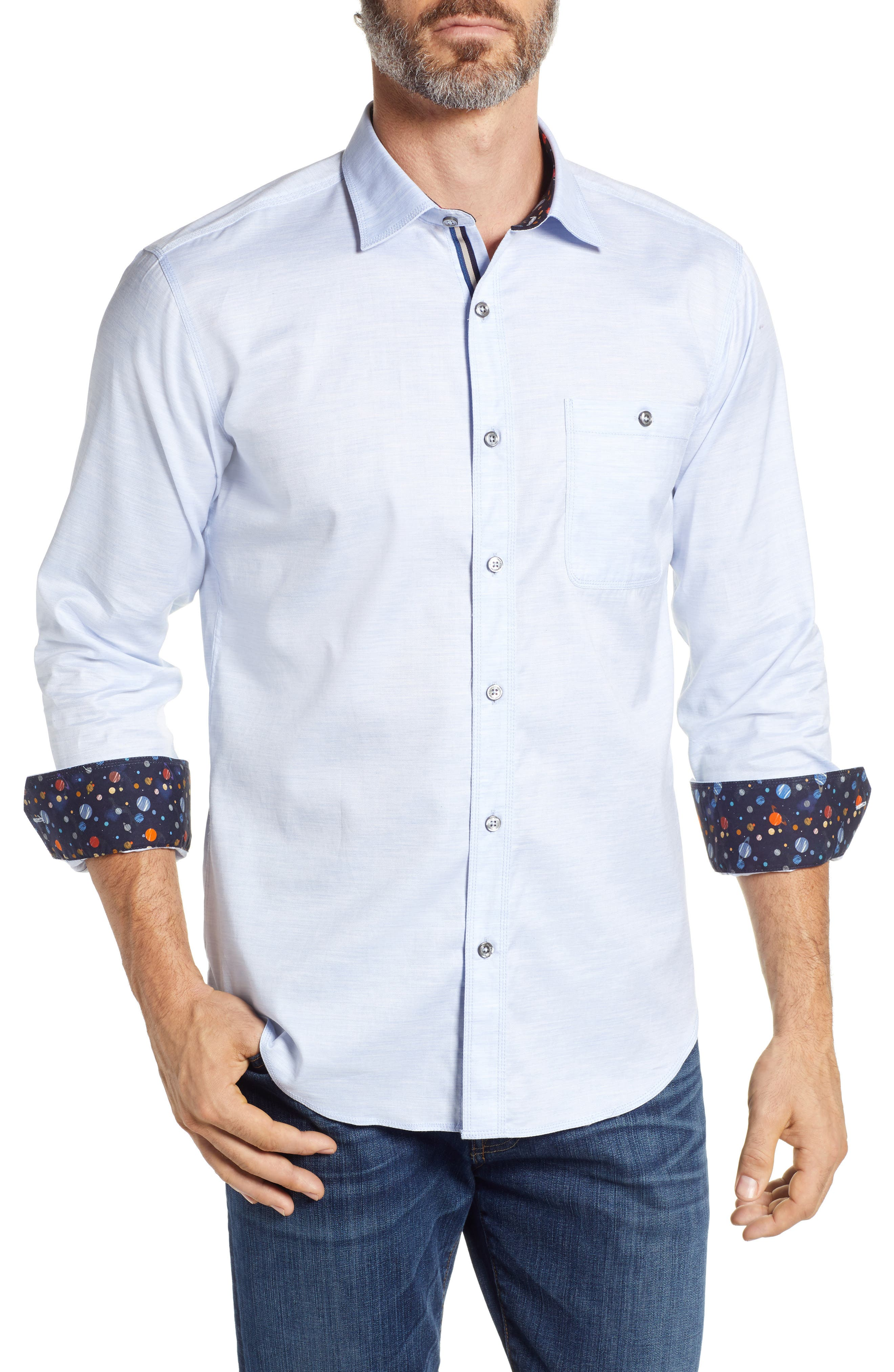 men's bugatchi shaped fit sport shirt