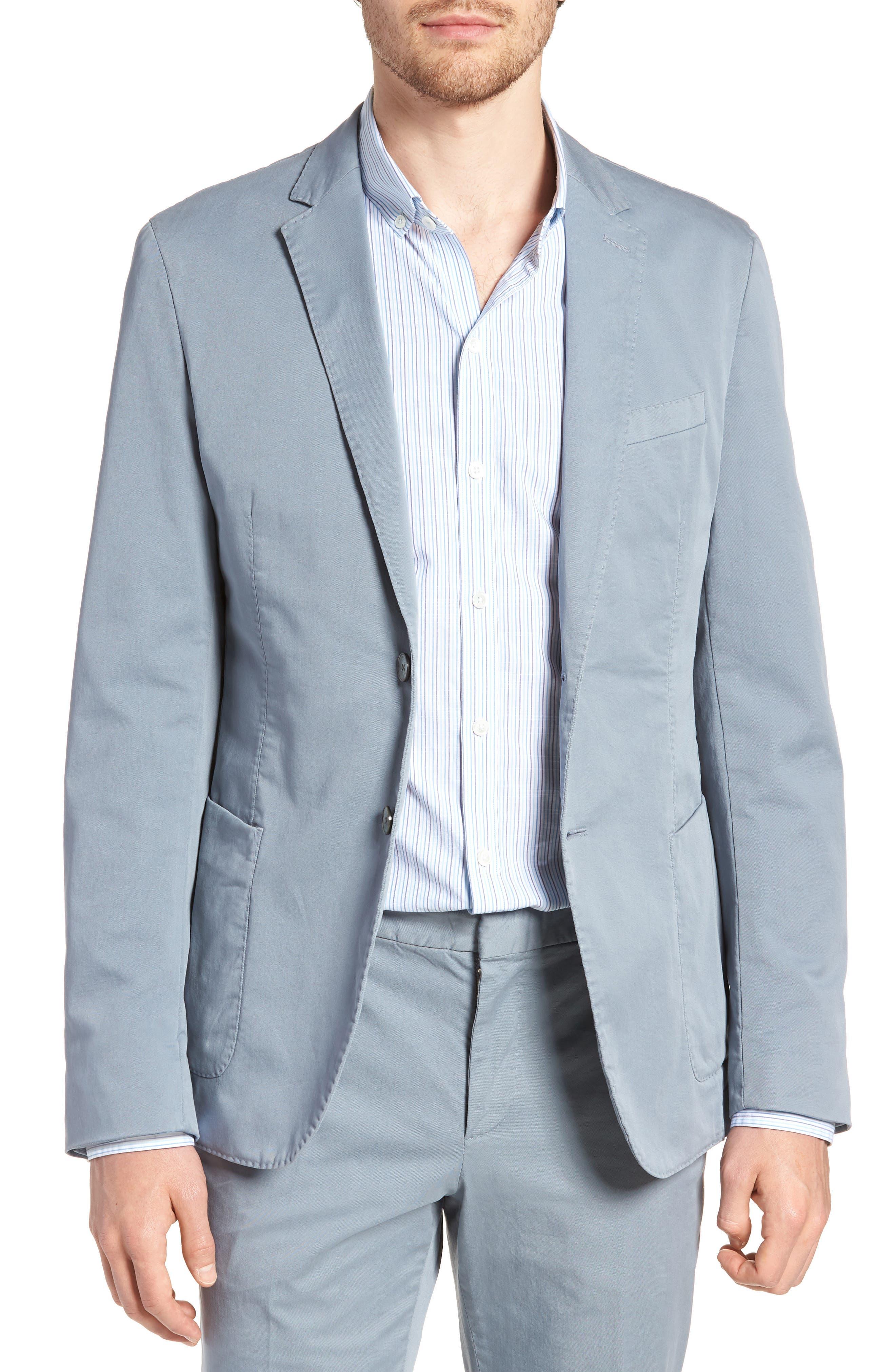 BOSS Hanry-D Trim Fit Stretch Cotton Blazer, Main, color, BLUE