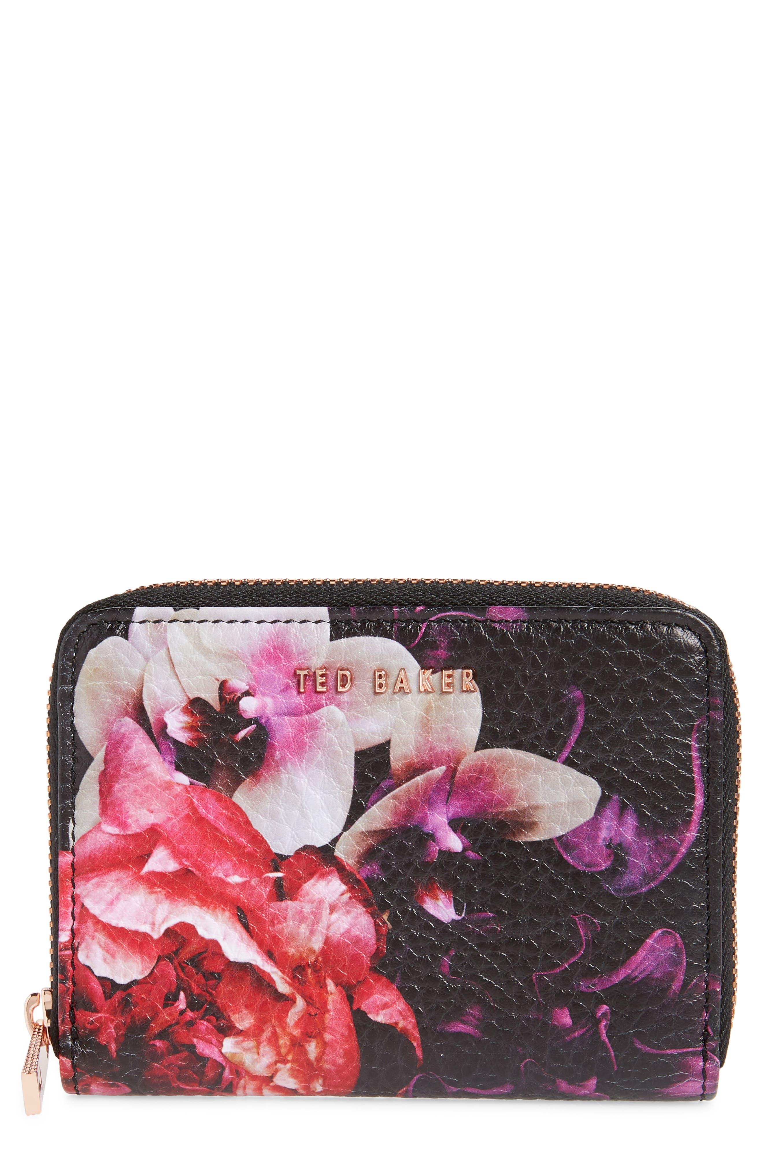 Small Splendour Zip Around Wallet,                             Main thumbnail 1, color,                             BLACK