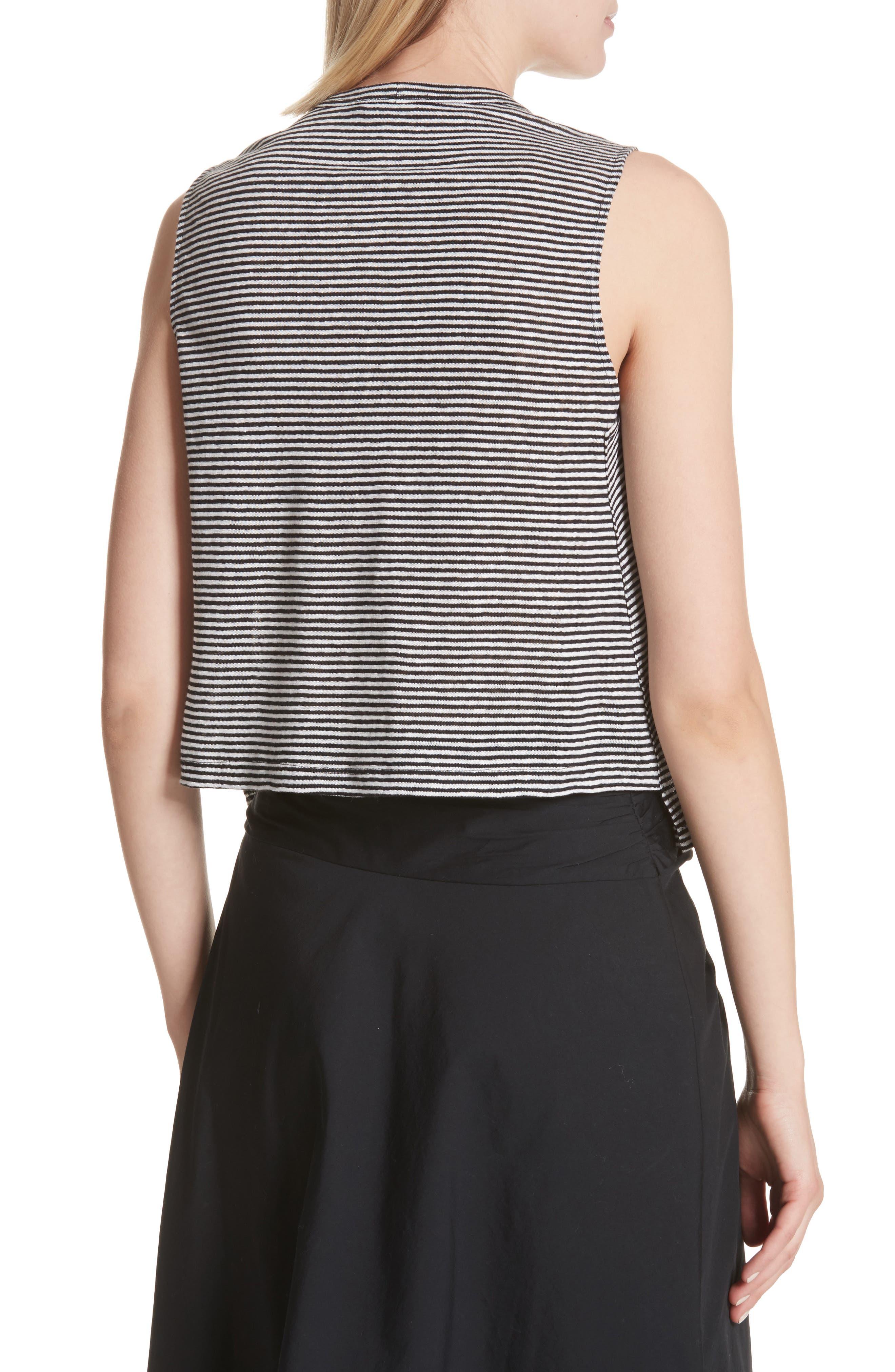 Ines Stripe Linen Crop Tee,                             Alternate thumbnail 2, color,                             BLACK/ WHITE
