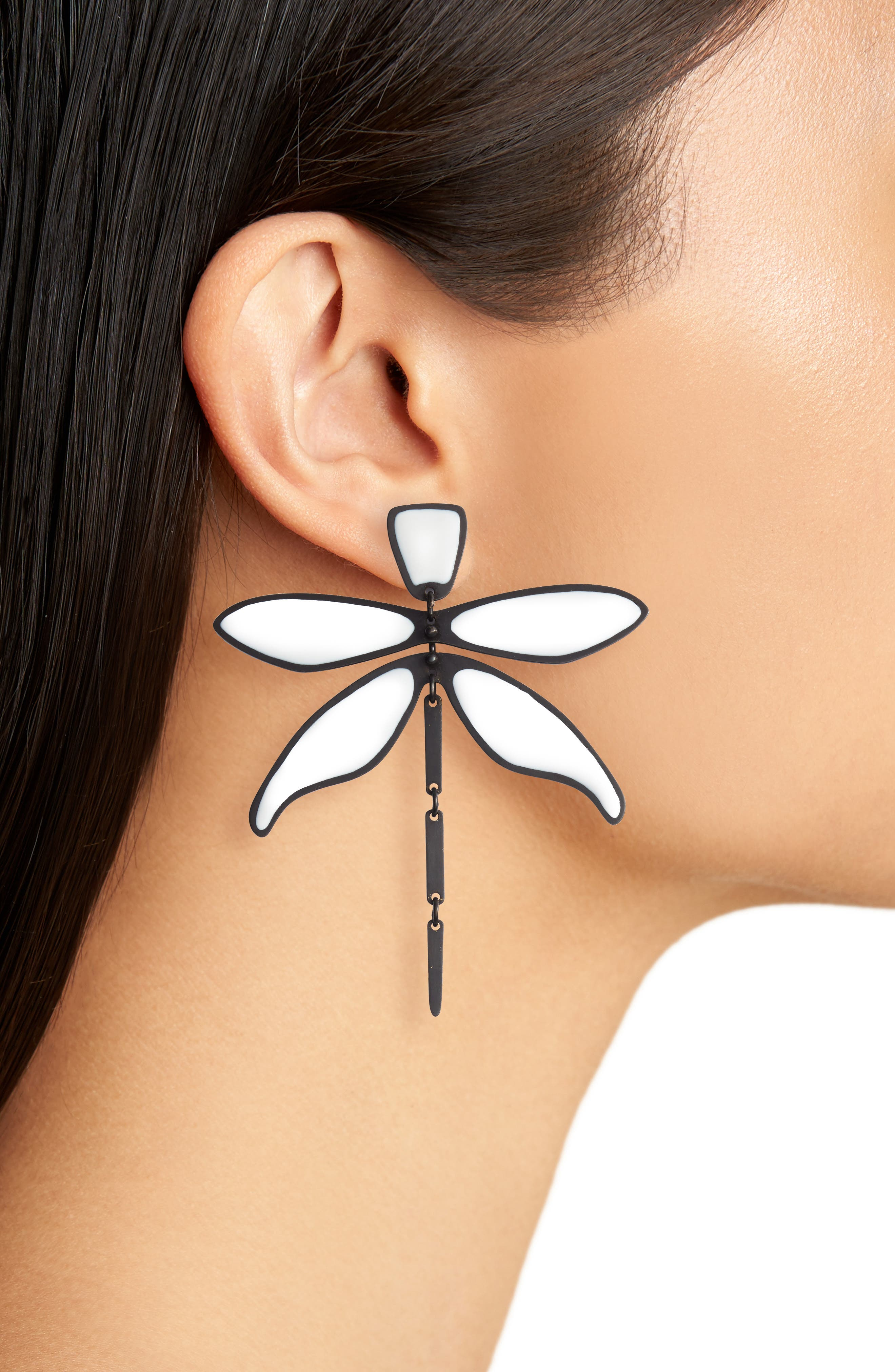 Articulated Dragonfly Earrings,                             Alternate thumbnail 6, color,