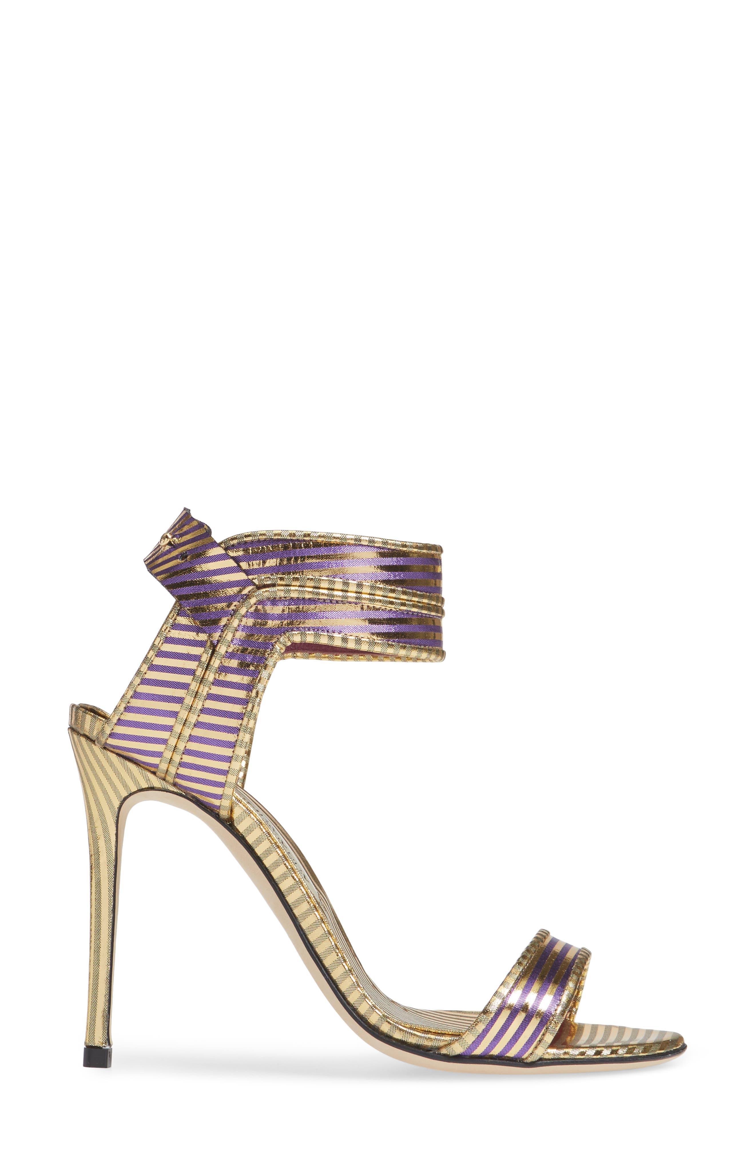Wynona Stripe Sandal,                             Alternate thumbnail 3, color,                             GOLD PURPLE STRIPED