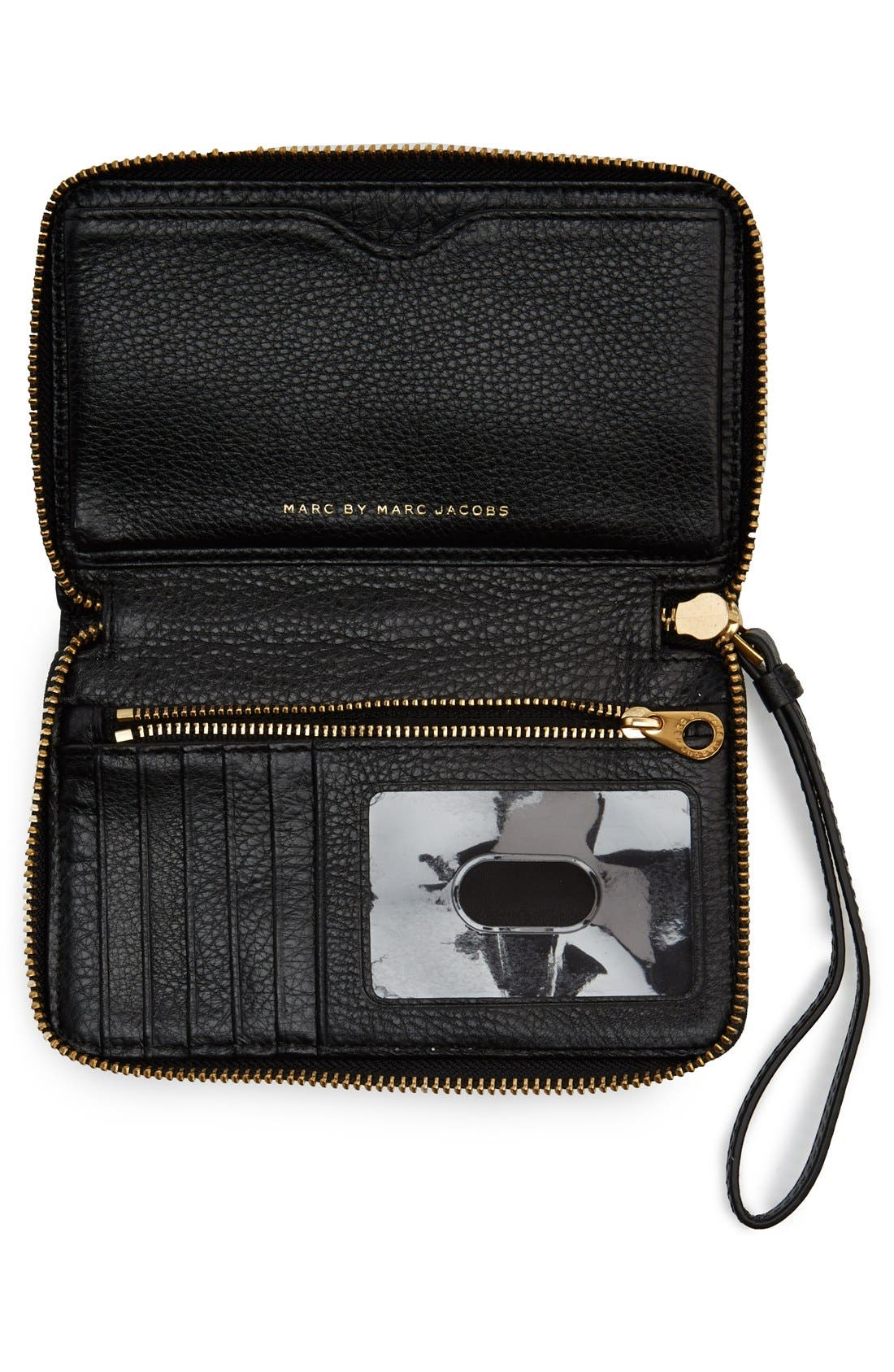 MARC JACOBS,                             MARC BY MARC JACOBS 'Too Hot To Handle - Wingman' Wallet Wristlet,                             Alternate thumbnail 5, color,                             001