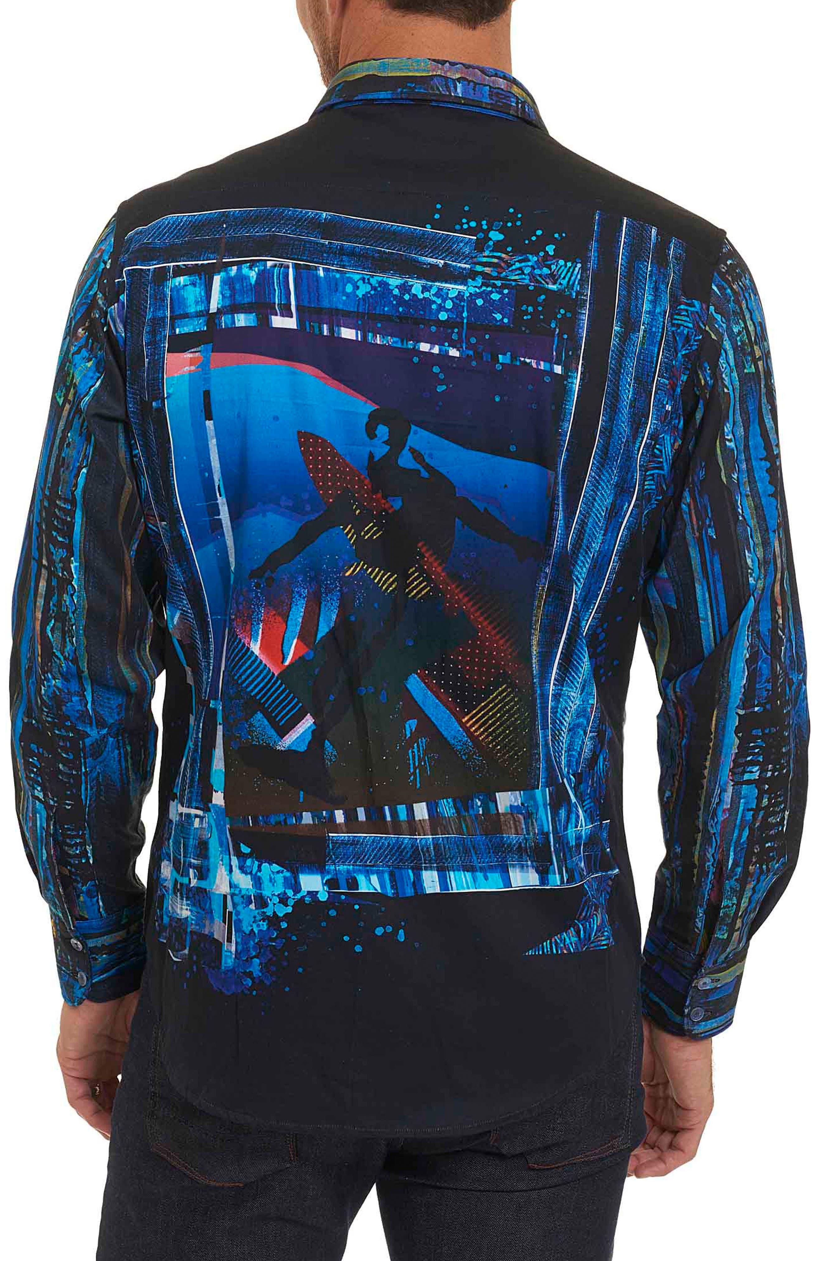 Kathleen's Blues Classic Fit Print Sport Shirt,                             Alternate thumbnail 2, color,                             460