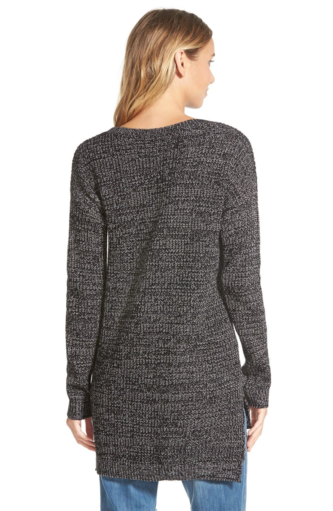 Textured Knit Pullover,                             Alternate thumbnail 3, color,                             001