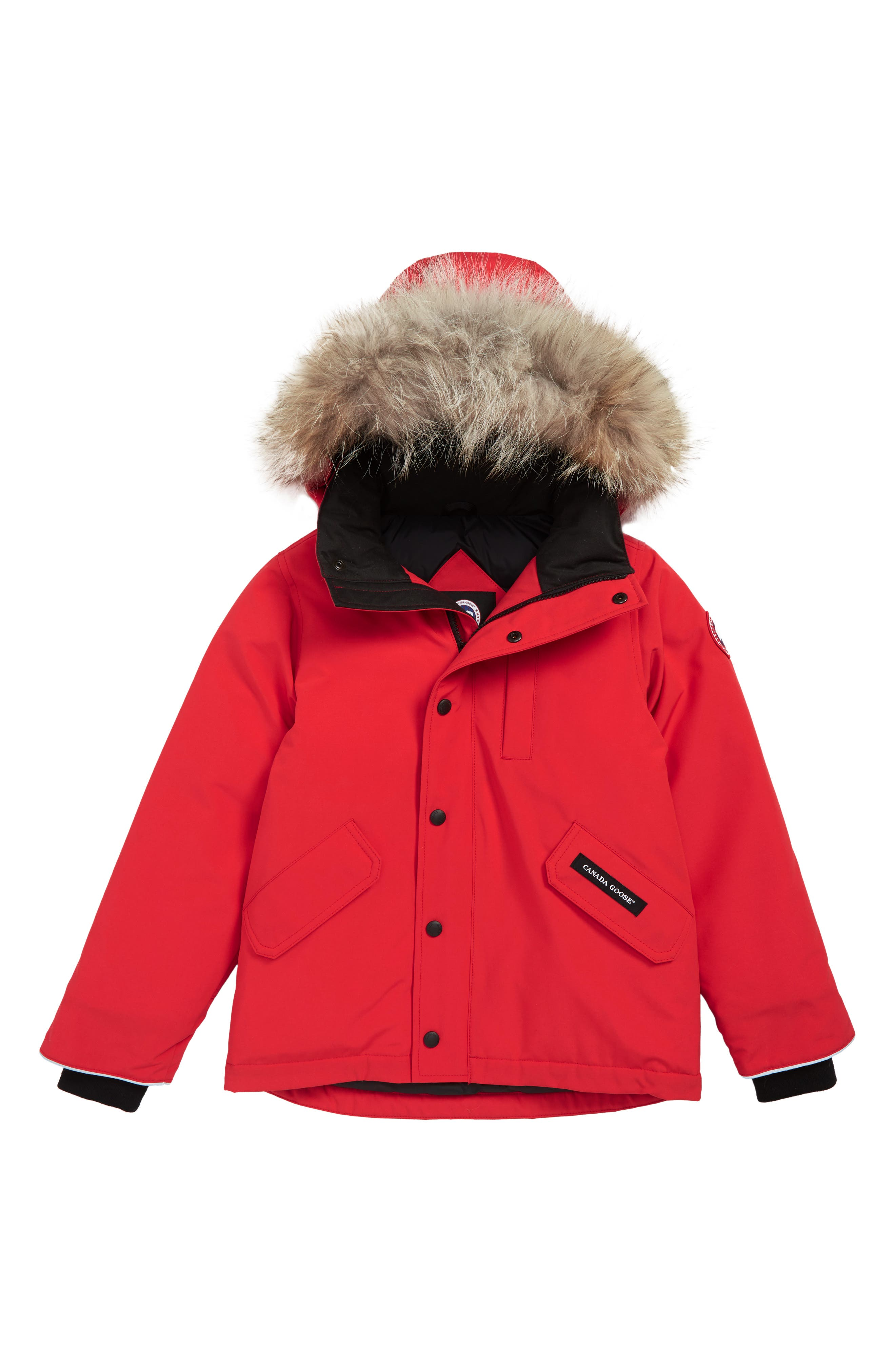 'Logan' Down Parka with Genuine Coyote Fur Trim,                             Main thumbnail 1, color,                             RED