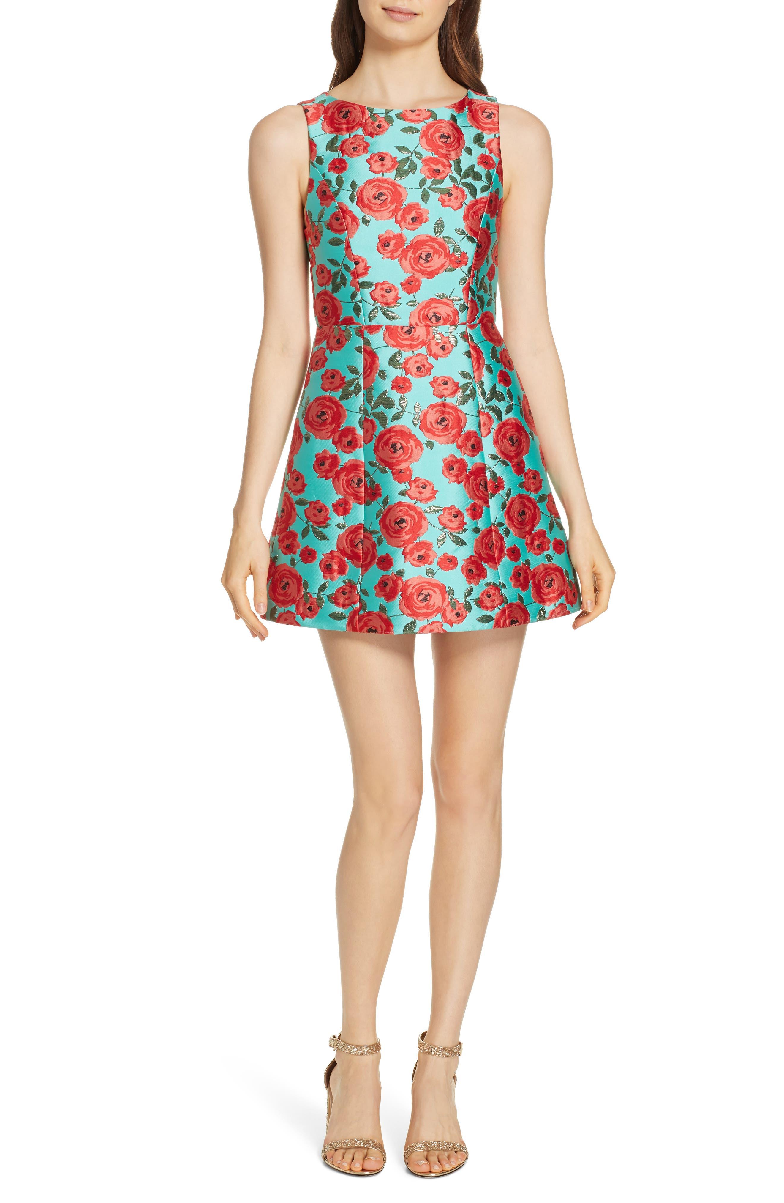 Lindsey Structured Fit & Flare Dress in Light Aqua Multi