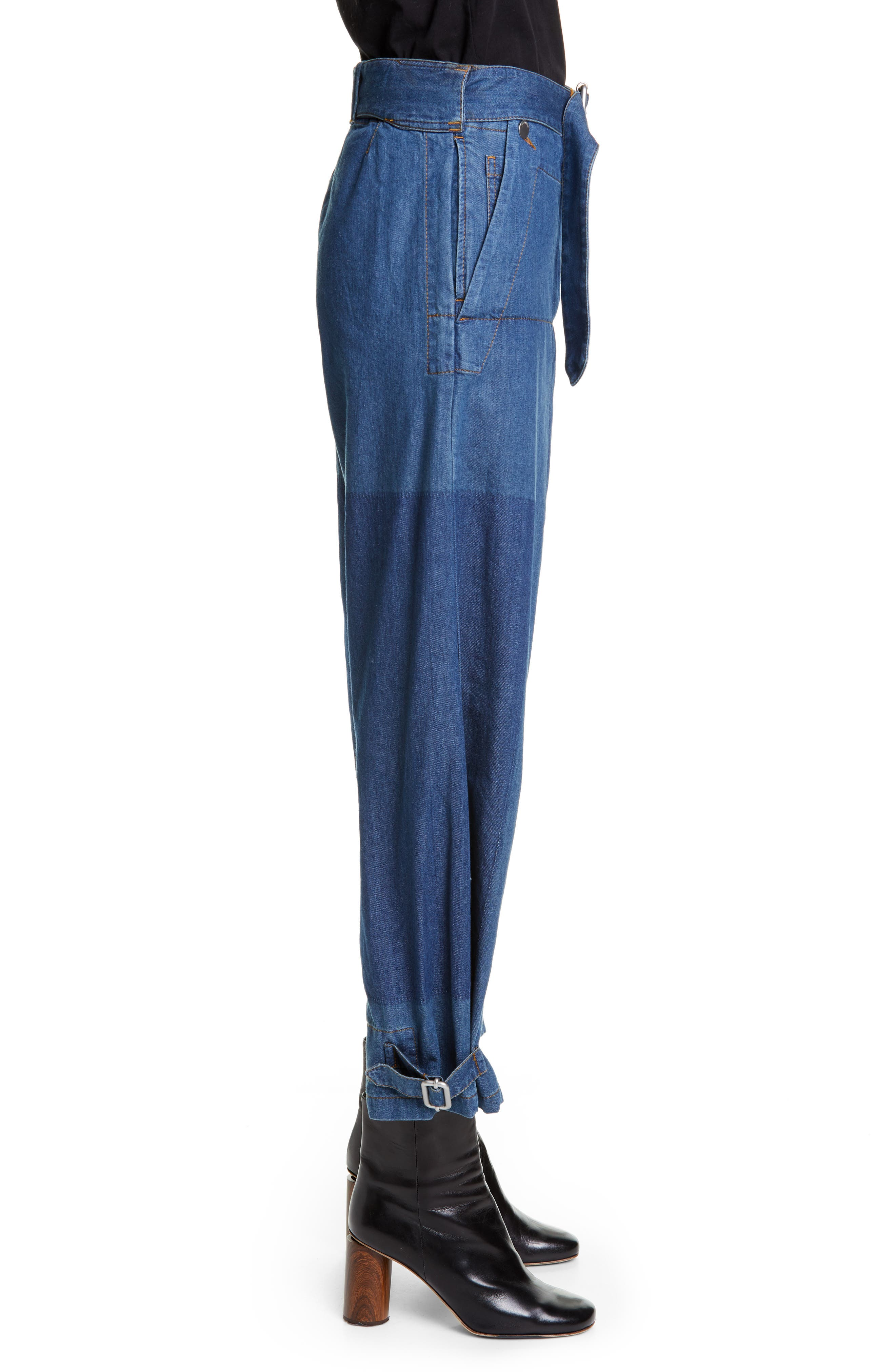 JW ANDERSON,                             Fold Front Jeans,                             Alternate thumbnail 3, color,                             MID BLUE