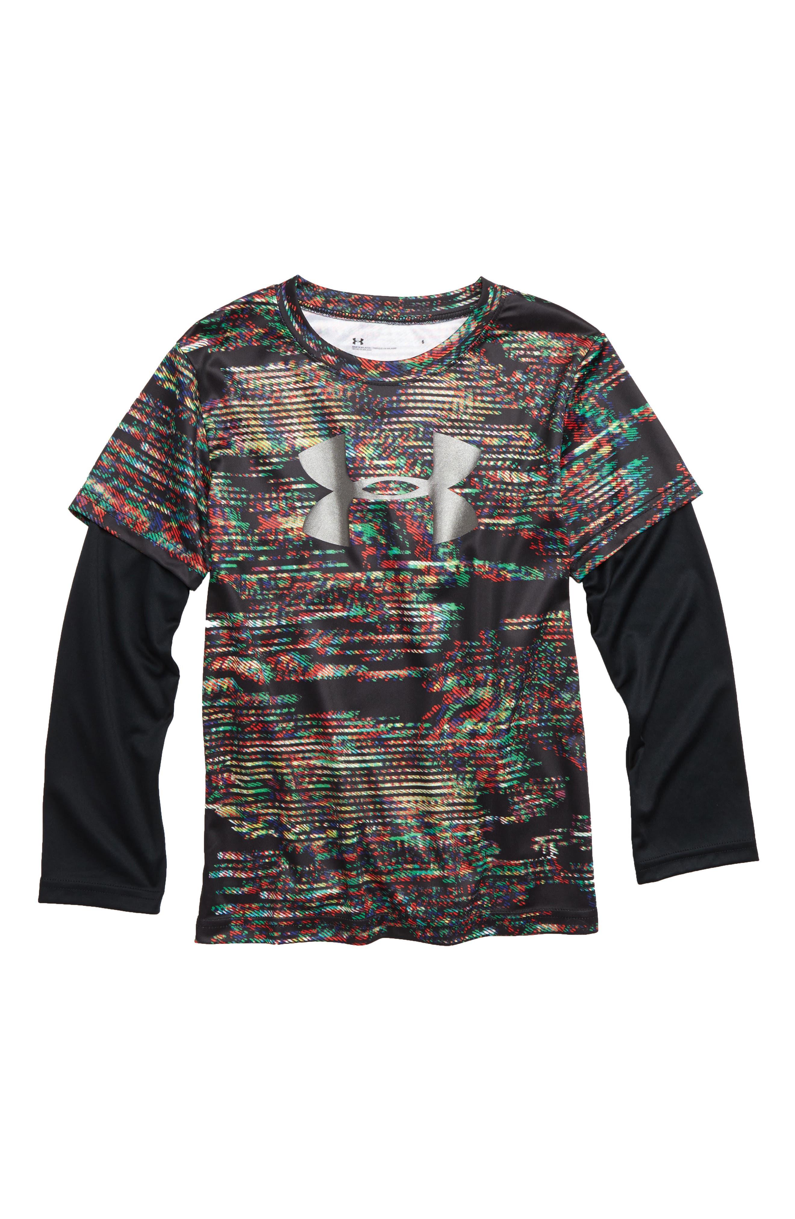 Static Digital Slider Layer T-Shirt,                             Main thumbnail 1, color,                             BLACK