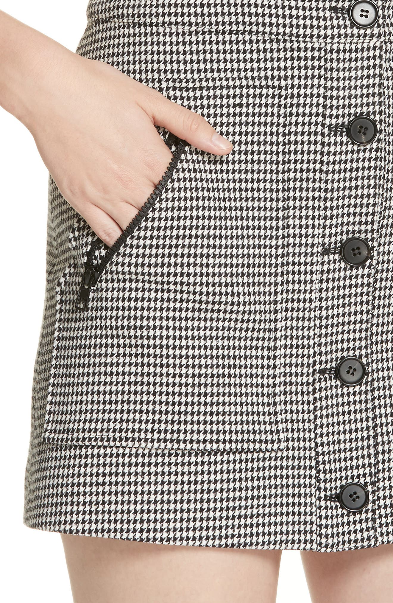 Leigh Houndstooth Minidress,                             Alternate thumbnail 4, color,                             BLACK/WHITE