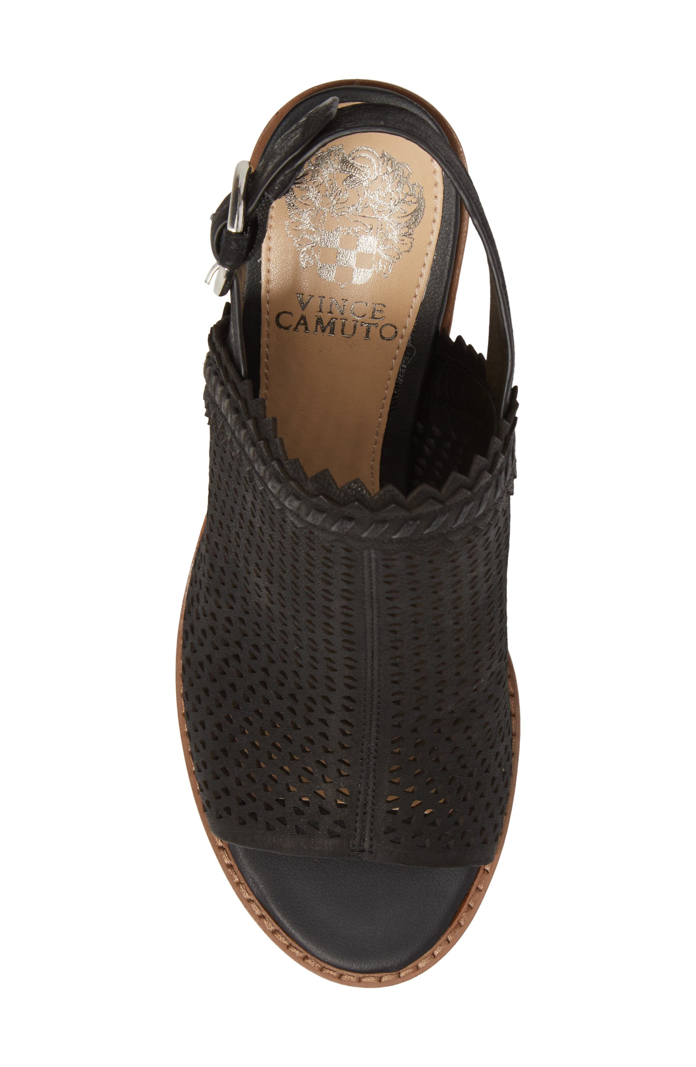 Tricinda Block Heel Sandal,                             Alternate thumbnail 5, color,                             BLACK LEATHER