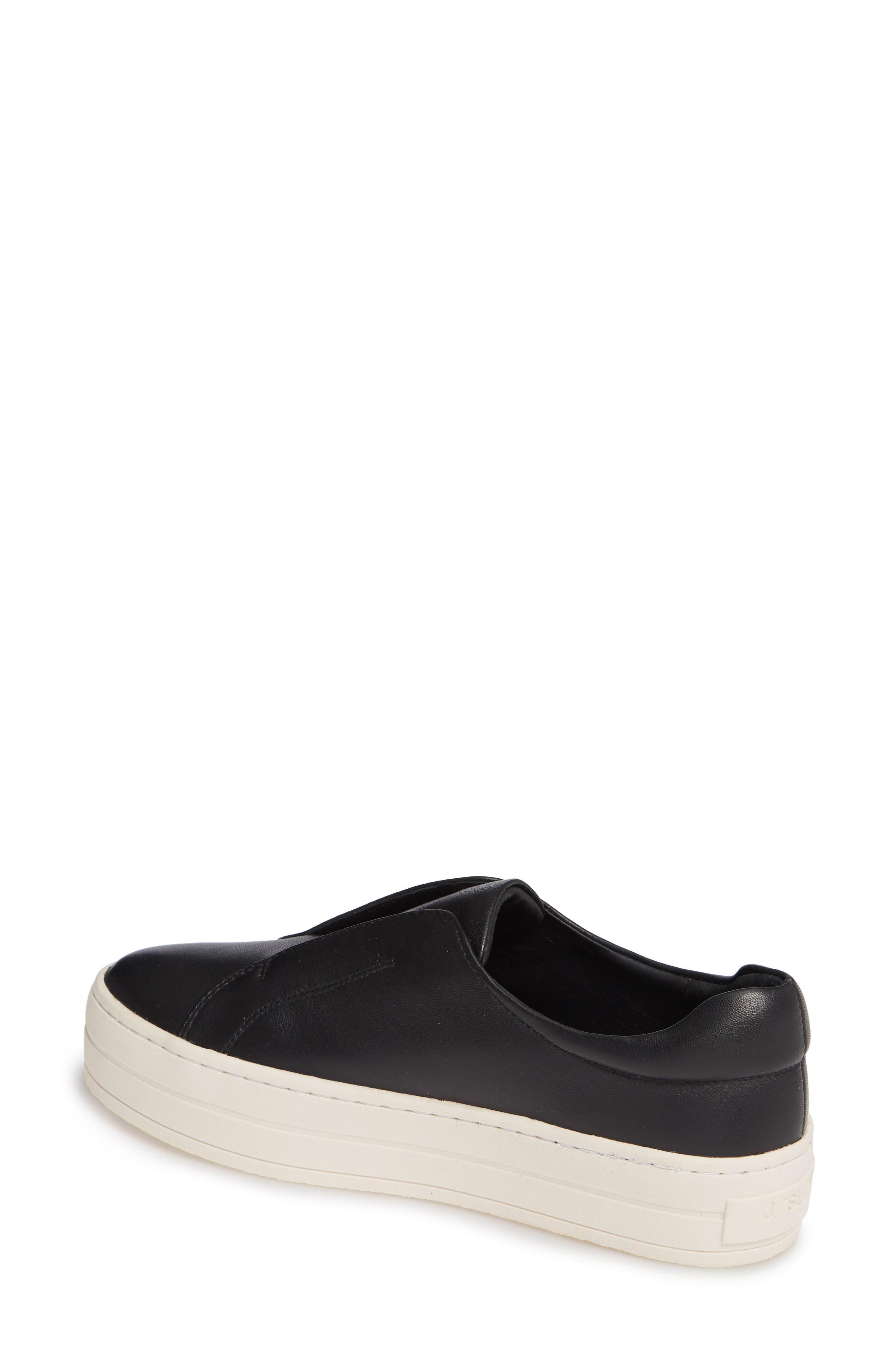 JSLIDES,                             Heidi Platform Slip-On Sneaker,                             Alternate thumbnail 2, color,                             BLACK LEATHER