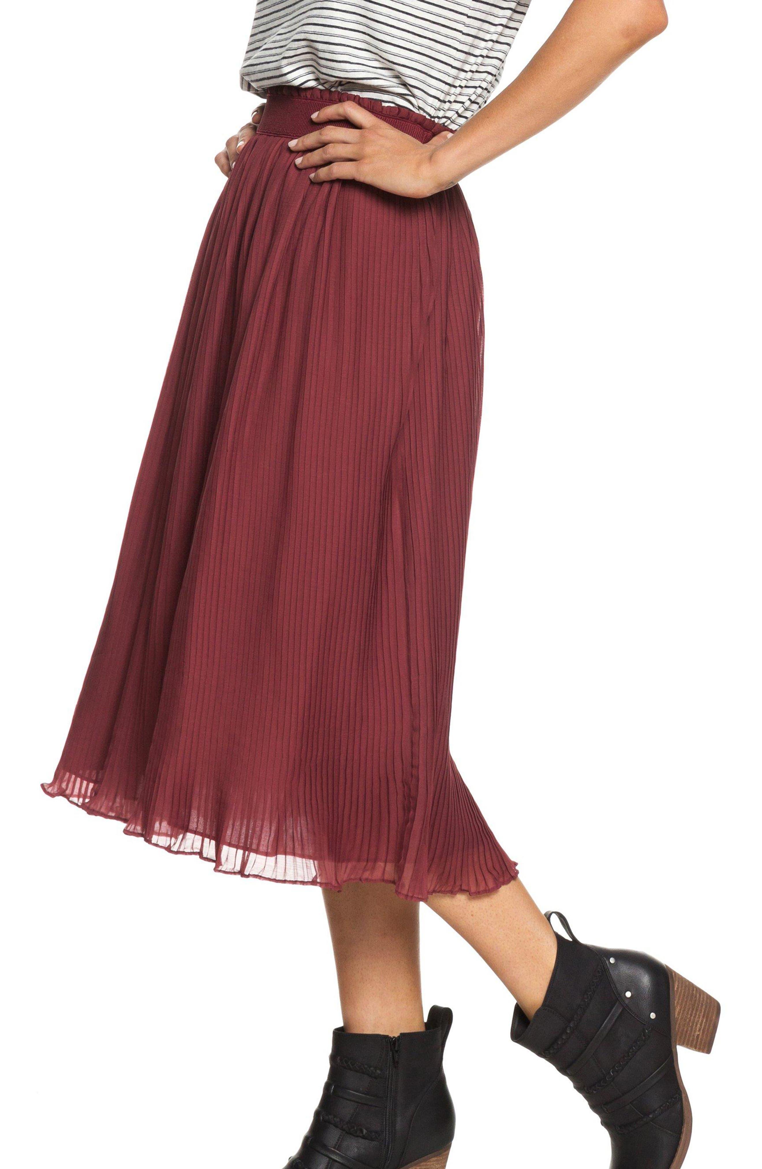 ROXY,                             Green Canyon Midi Skirt,                             Alternate thumbnail 3, color,                             OXBLOOD RED