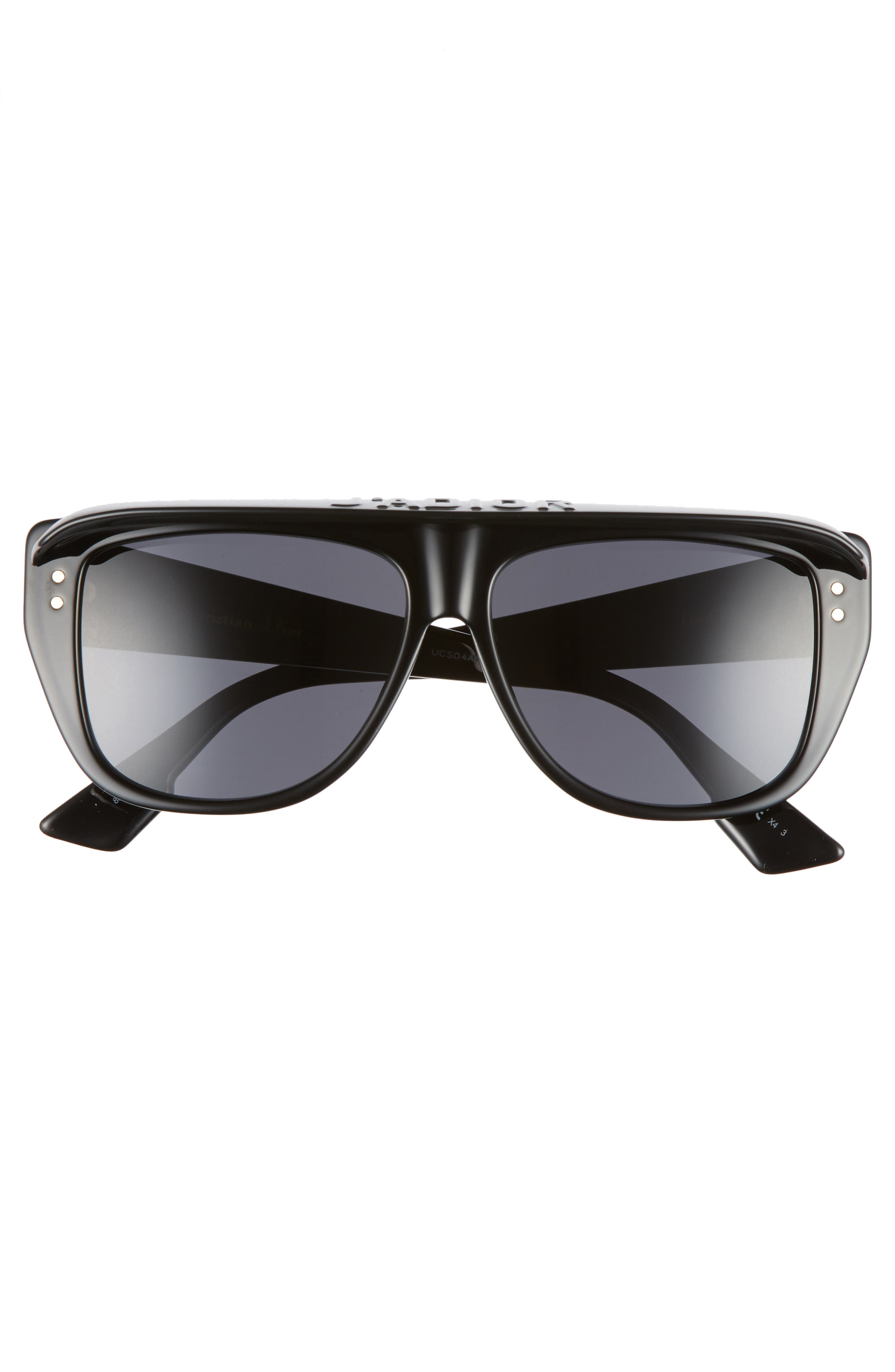 DiorClub2S 56mm Square Sunglasses with Removable Visor,                             Alternate thumbnail 3, color,                             BLACK