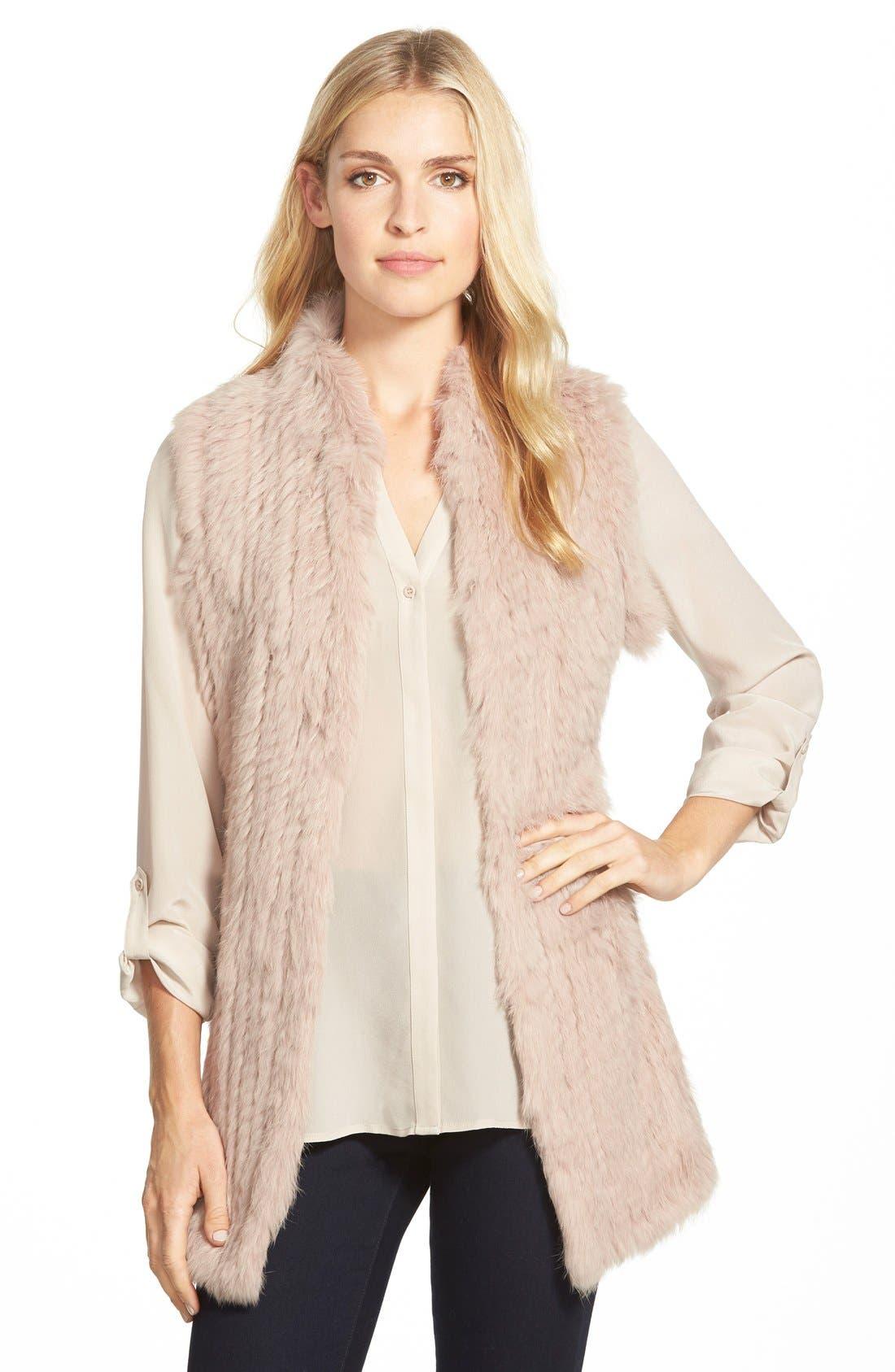 Genuine Rabbit Fur & Knit Vest,                             Main thumbnail 3, color,