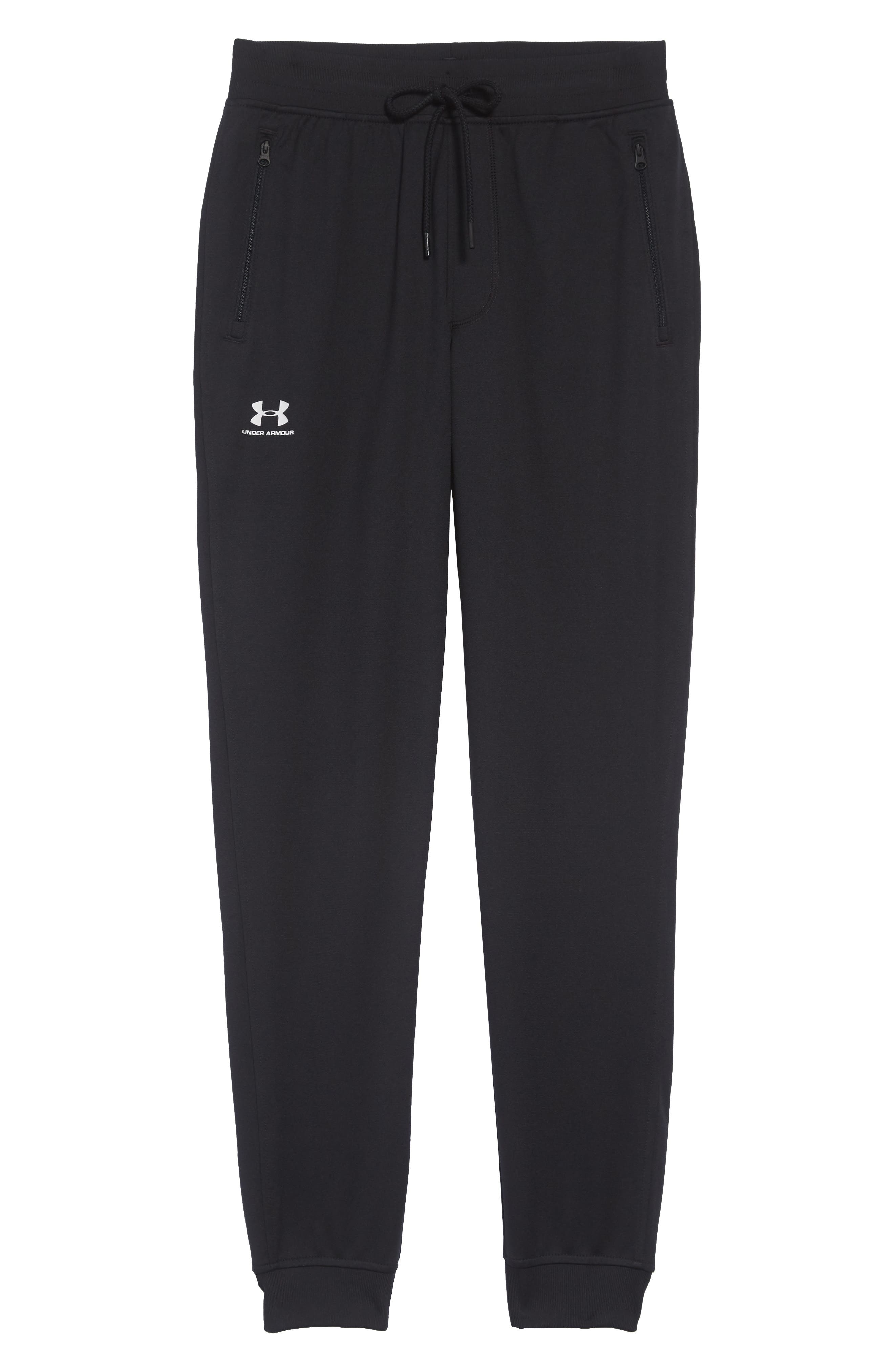 Sportstyle Knit Jogger Pants,                             Alternate thumbnail 6, color,                             BLACK/ WHITE