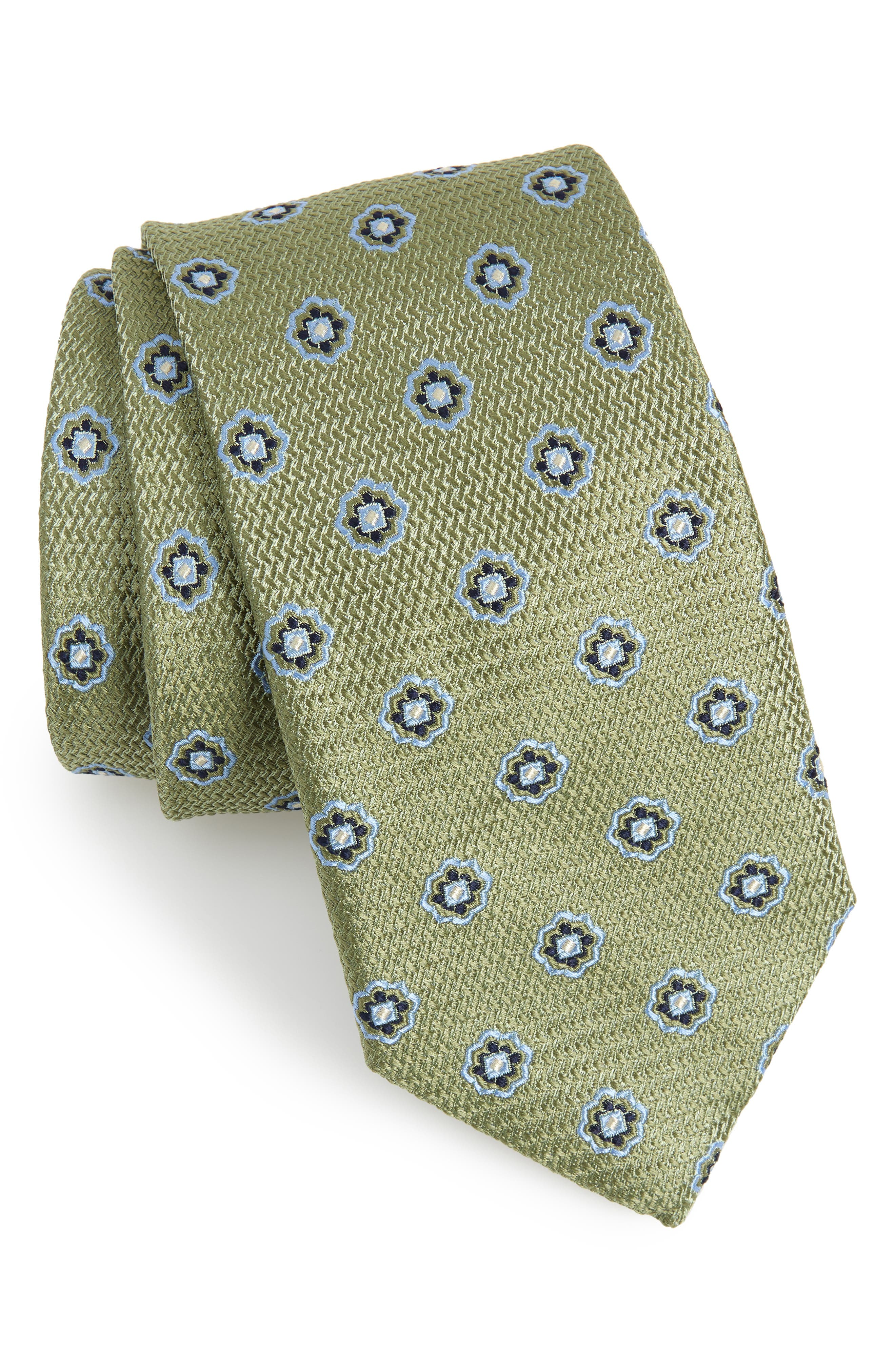 ETON,                             Medallion Silk Tie,                             Main thumbnail 1, color,                             300