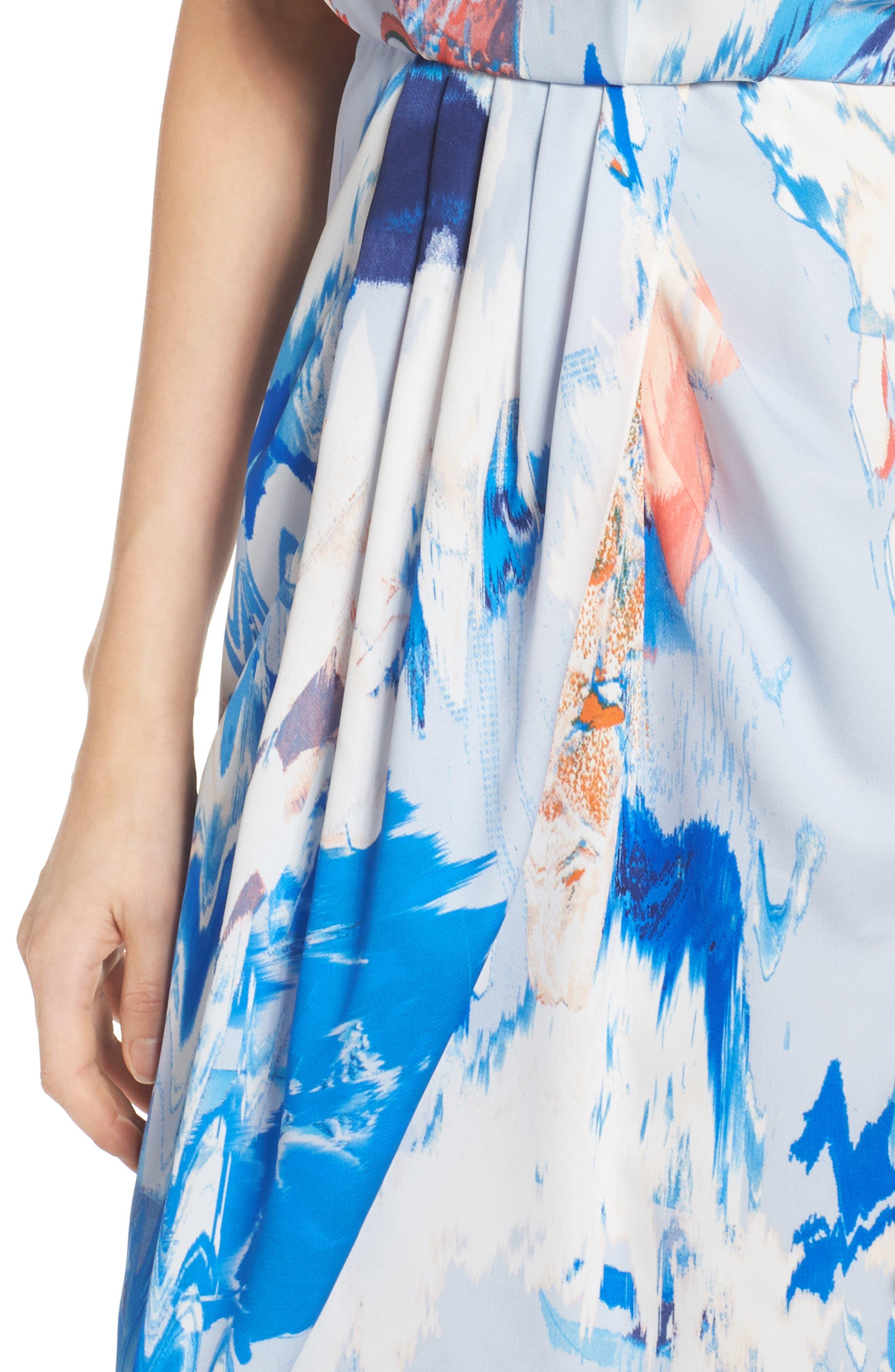 Print Faux Wrap Dress,                             Alternate thumbnail 4, color,                             BLUE WATERCOLOR FLORAL PRINT