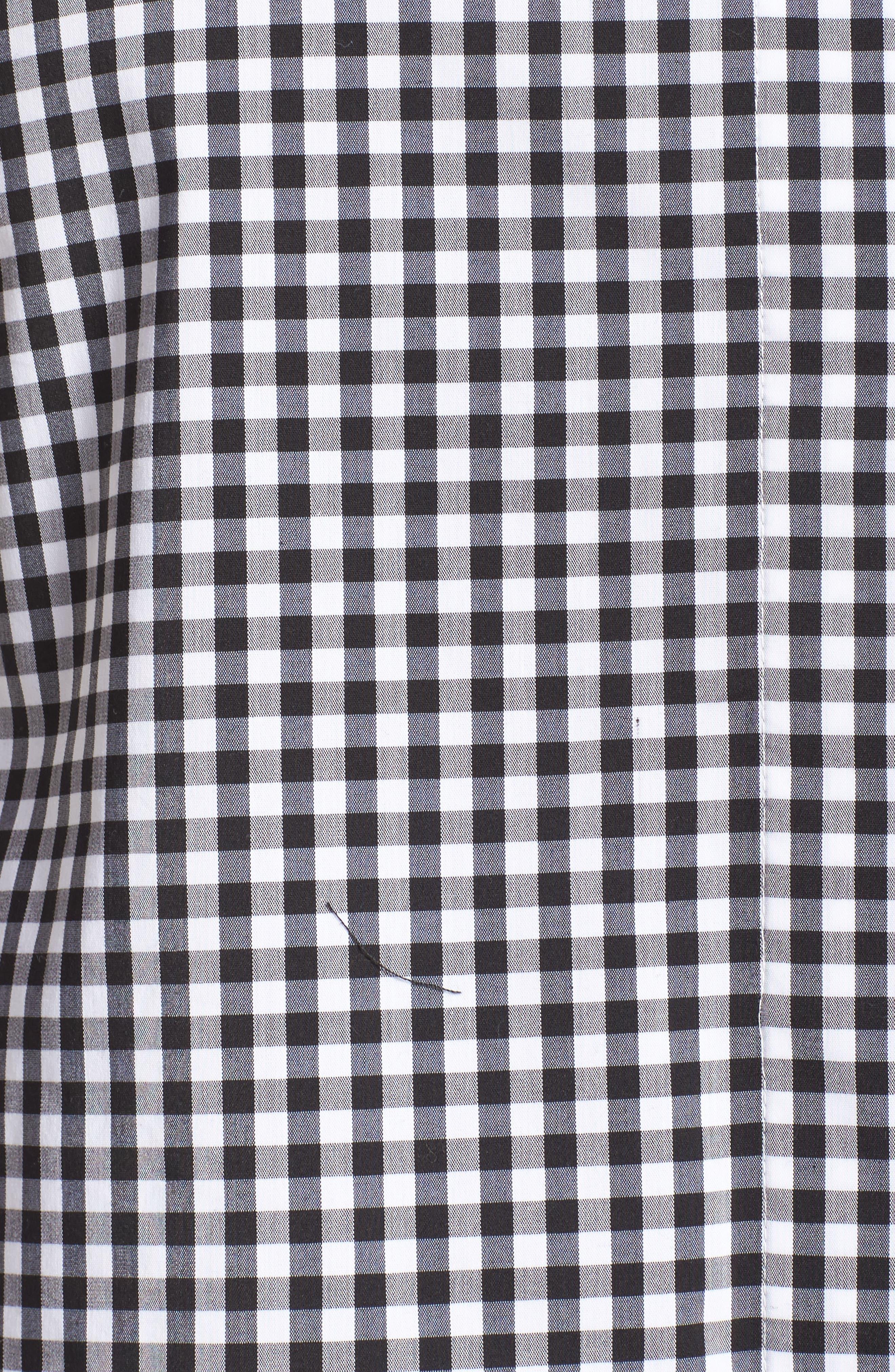 Tie Collar Cotton Blend Top,                             Alternate thumbnail 6, color,                             001