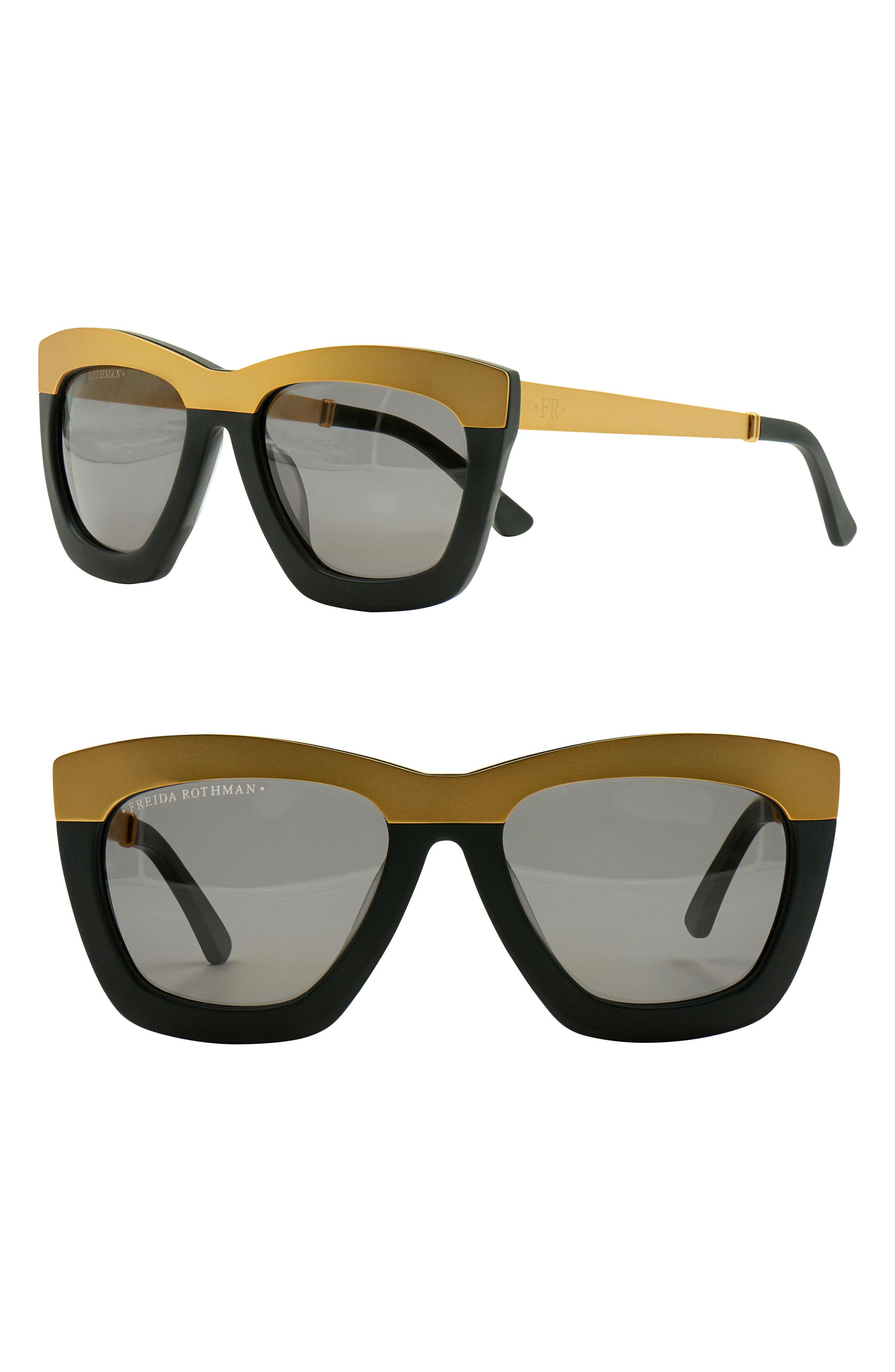 Hadlee 53mm Square Cat Eye Sunglasses,                         Main,                         color, MATTE BLACK