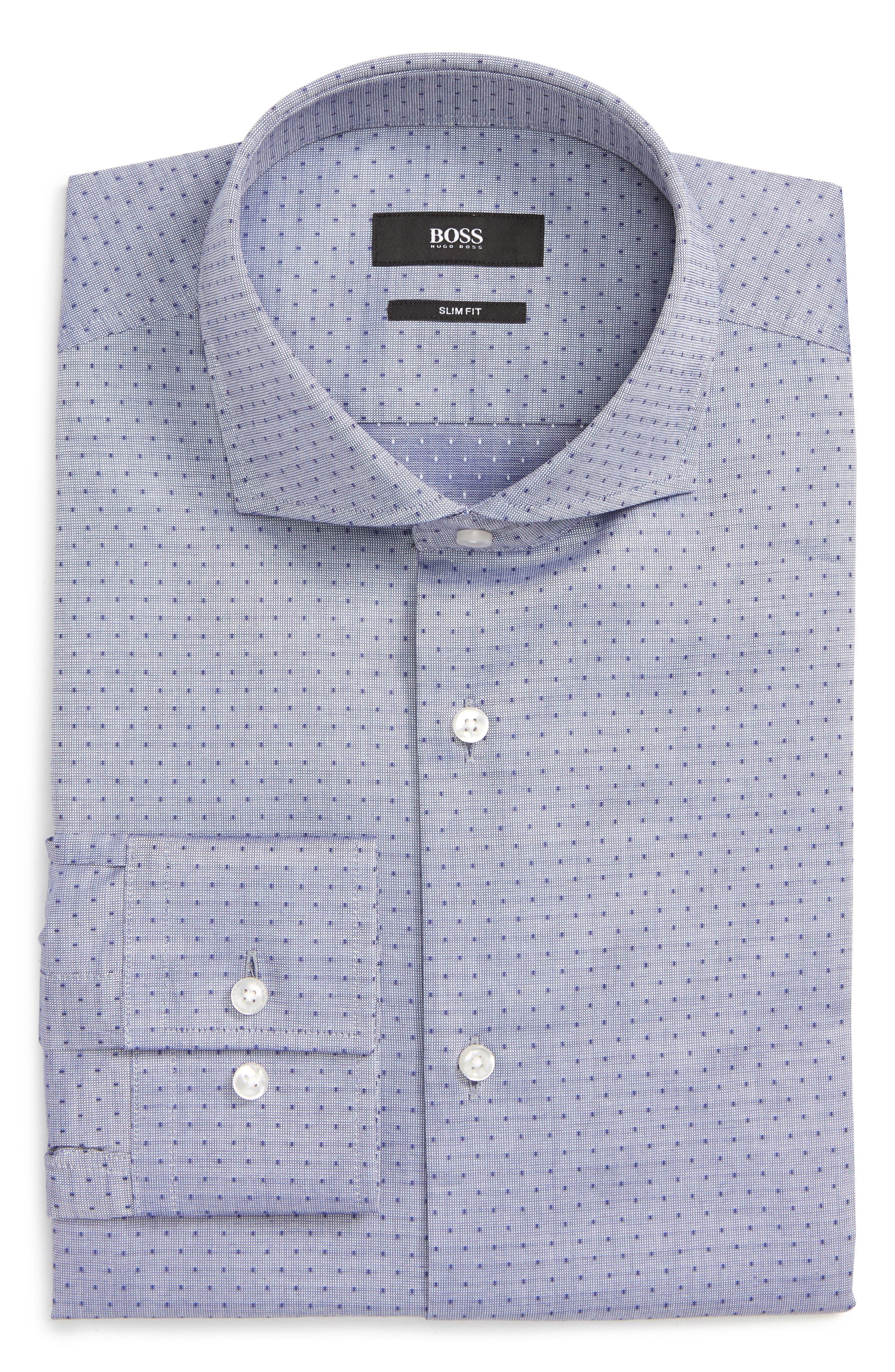 Jason Slim Fit Dot Dress Shirt,                             Alternate thumbnail 5, color,                             NAVY