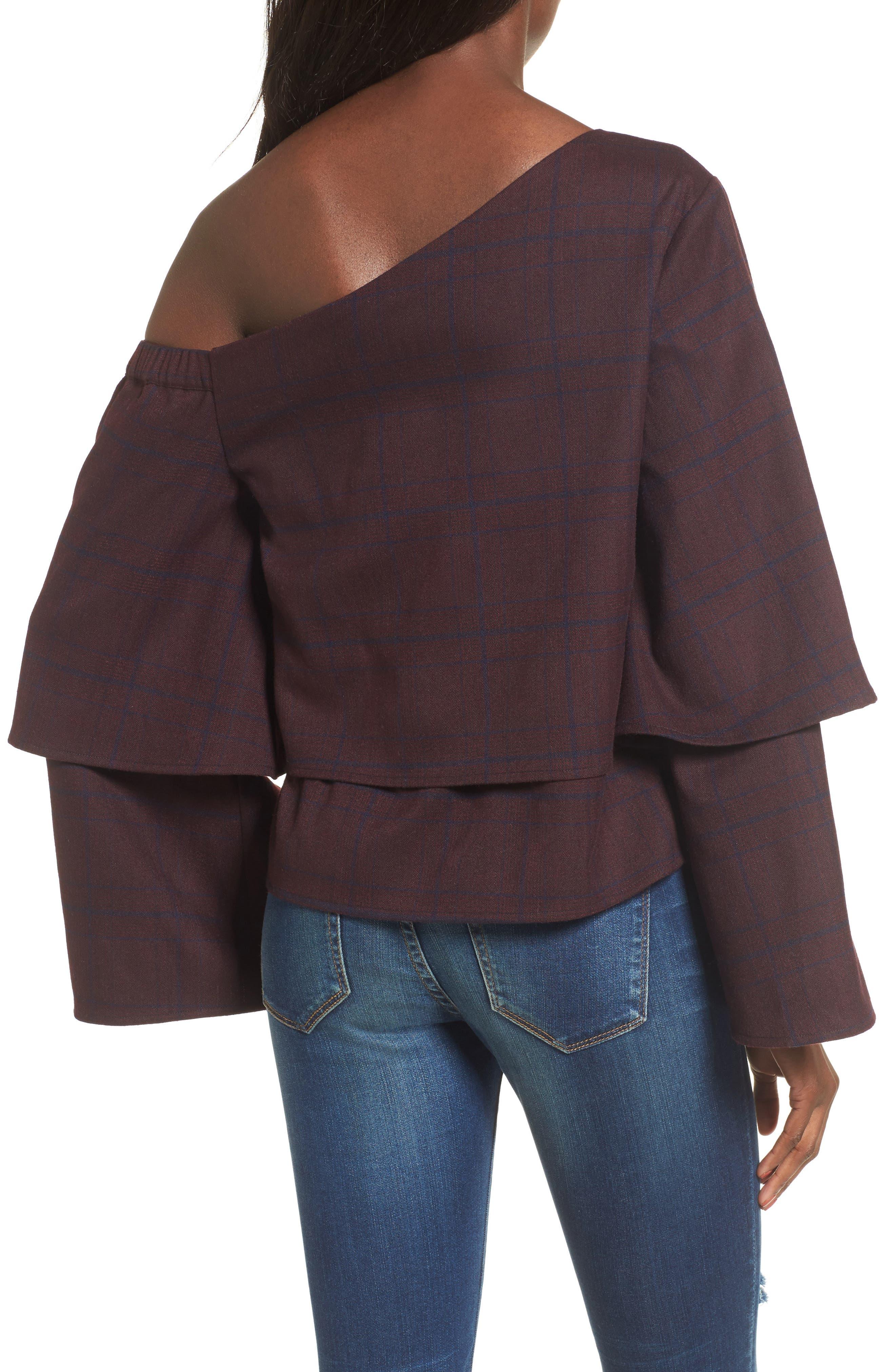 Asymmetric Ruffle Sleeve Top,                             Alternate thumbnail 2, color,                             500