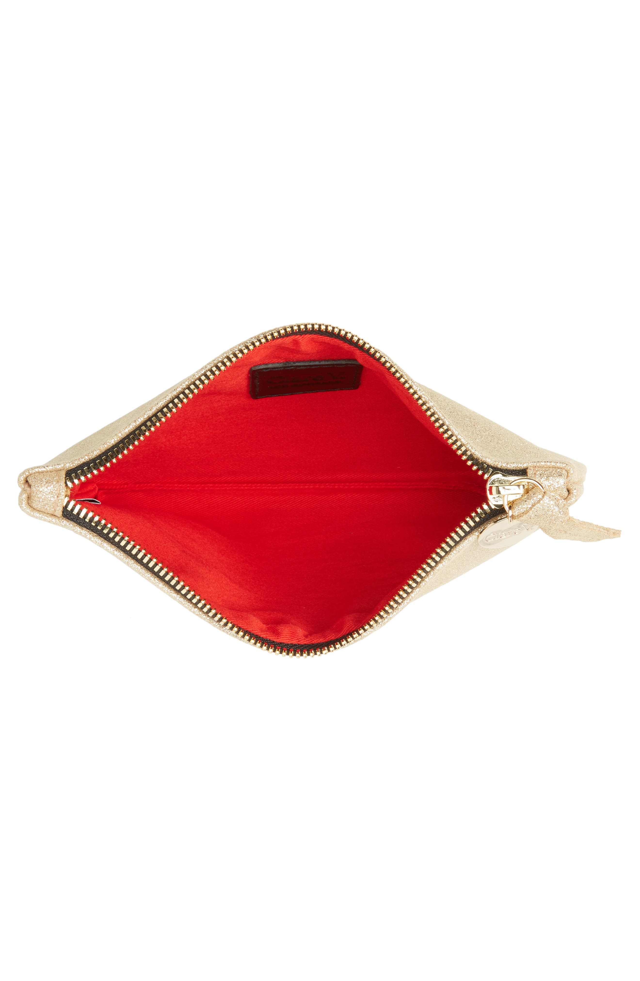 Shimmer Suede Wallet Clutch,                             Alternate thumbnail 4, color,                             710