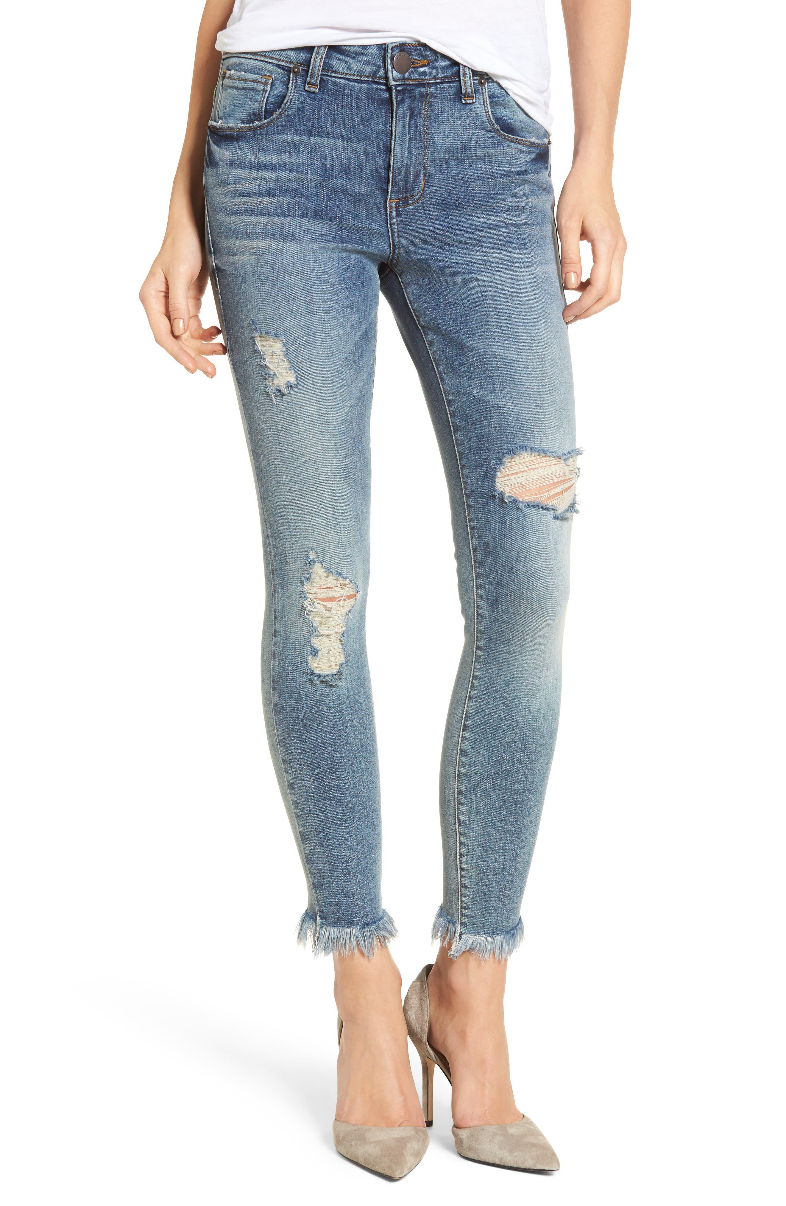 Exaggerated Hem Skinny Jeans,                             Main thumbnail 1, color,