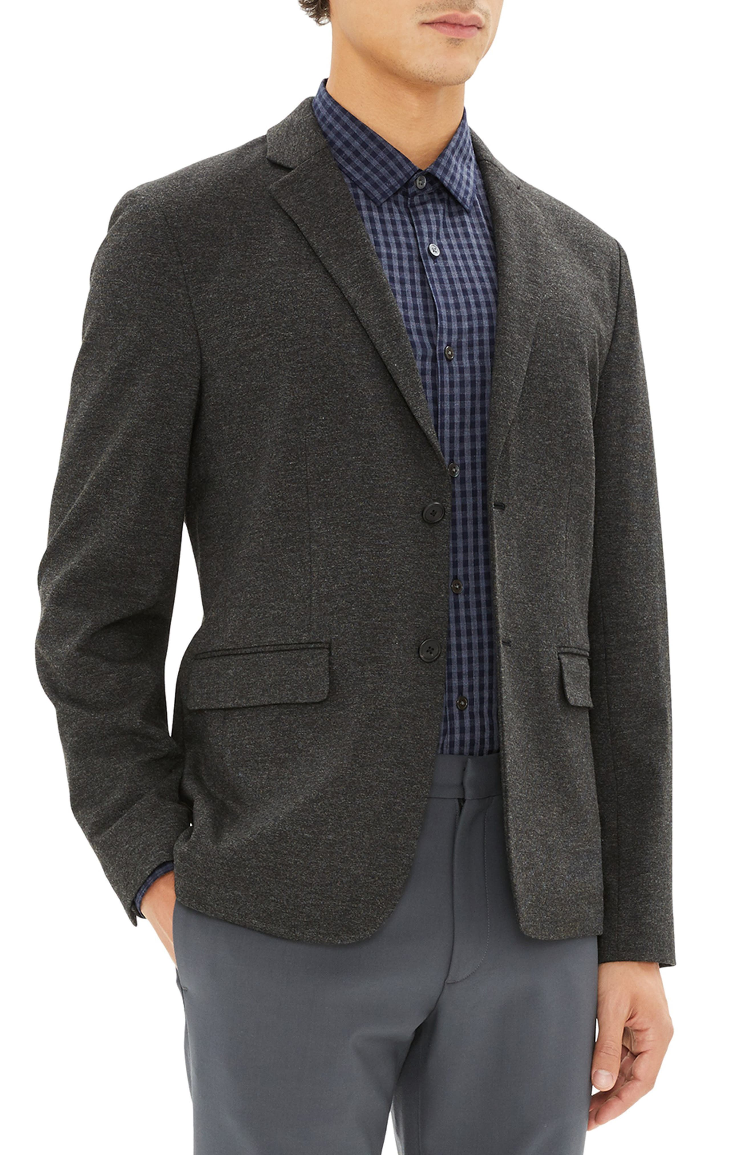 Clinton Marled Ponte Sport Coat,                             Alternate thumbnail 3, color,                             DARK CHARCOAL MELANGE