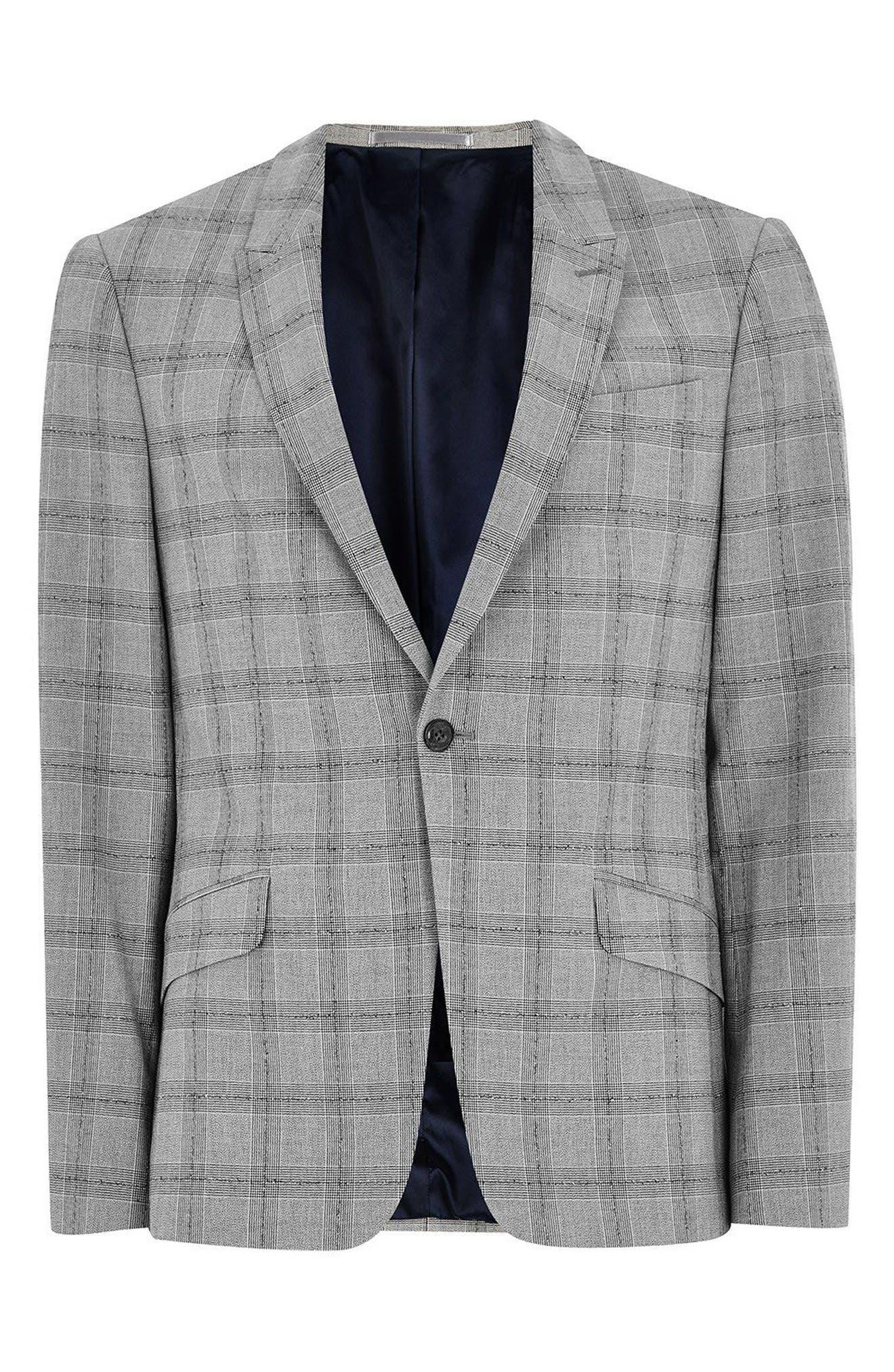 Check Suit Jacket,                             Alternate thumbnail 4, color,                             Grey/ Black