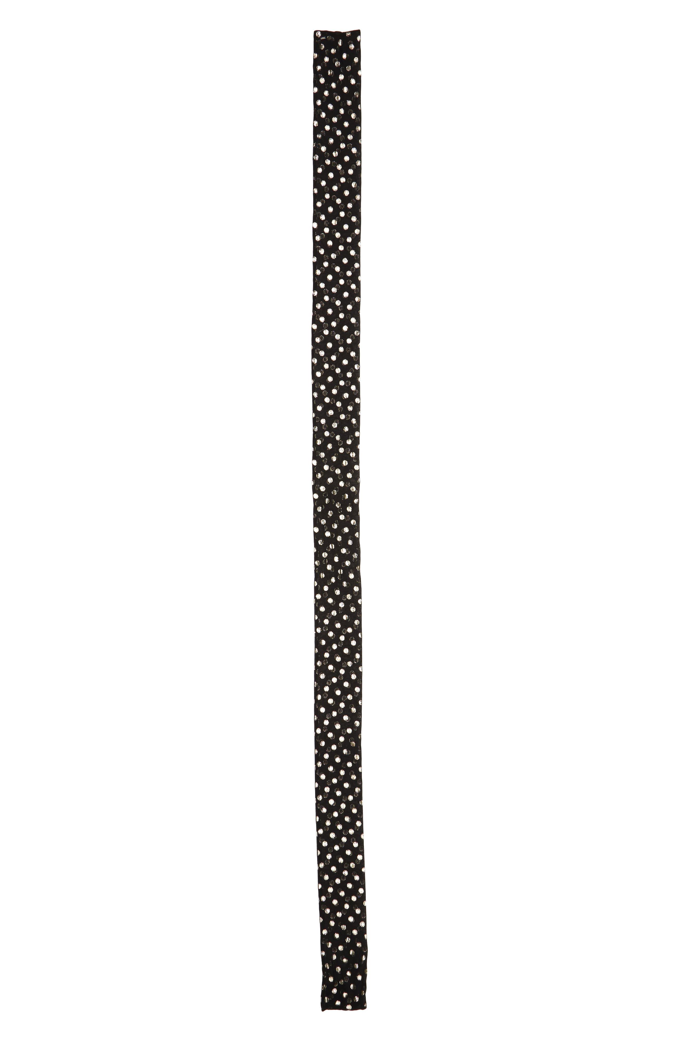 Lamé Polka Dots Skinny Silk Scarf,                             Main thumbnail 1, color,                             001