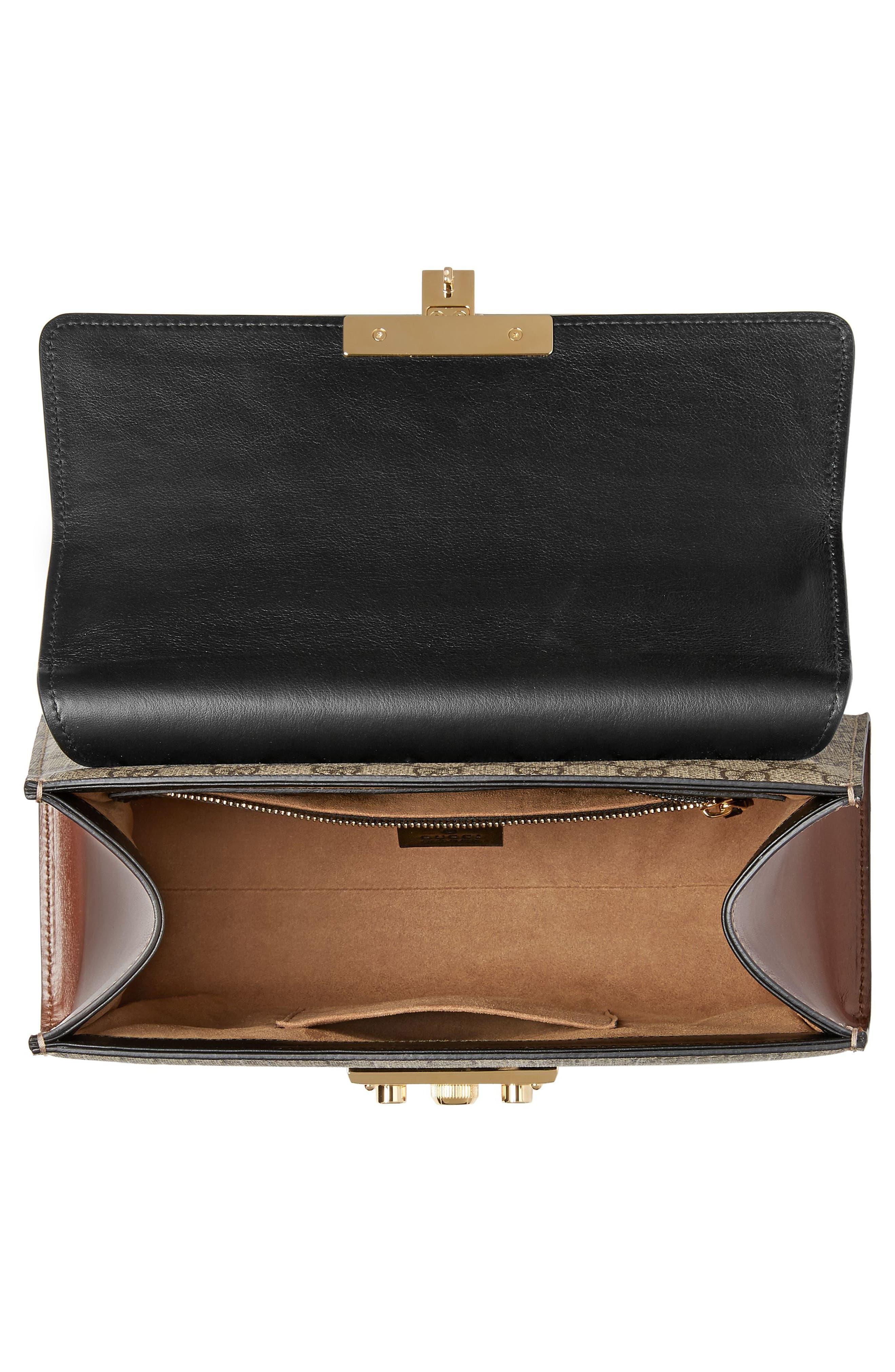 Small Padlock GG Supreme Canvas & Leather Top Handle Satchel,                             Alternate thumbnail 3, color,                             BEIGE EBONY/ NERO/ TOSCANO