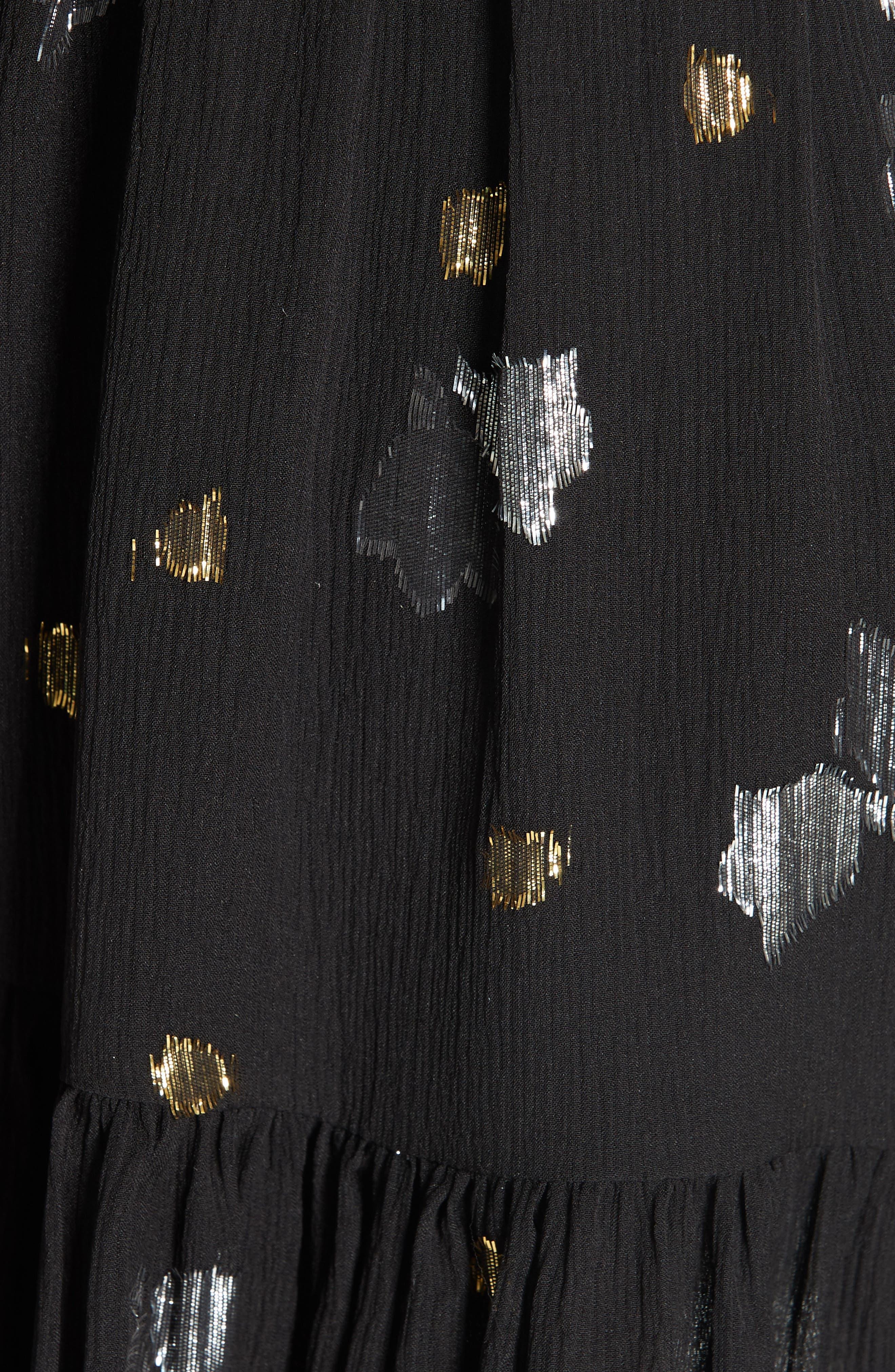 Scattered Metallic Tulip Silk Blend Dress,                             Alternate thumbnail 5, color,                             001