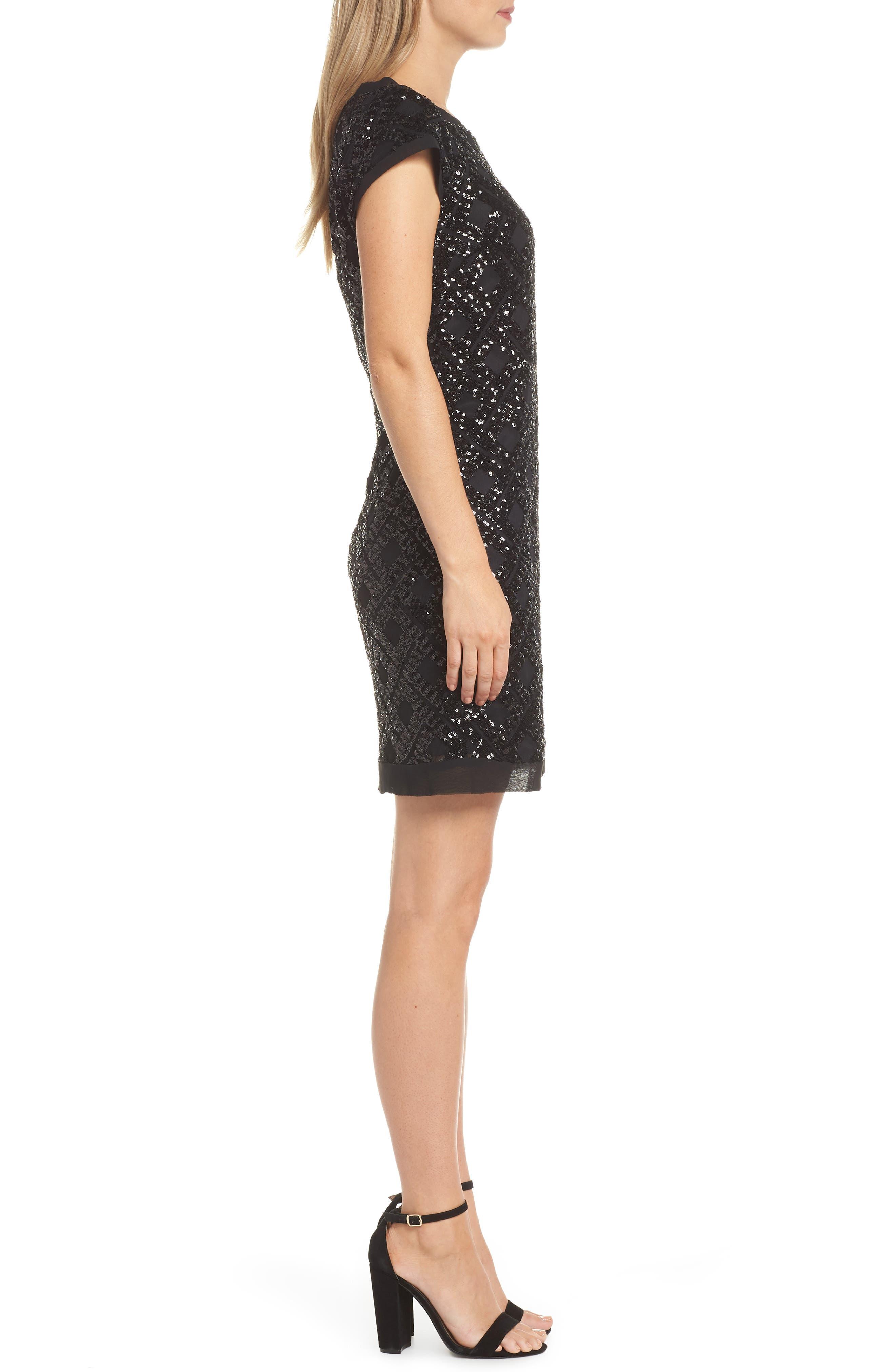 Sequin Sheath Dress,                             Alternate thumbnail 3, color,                             BLACK
