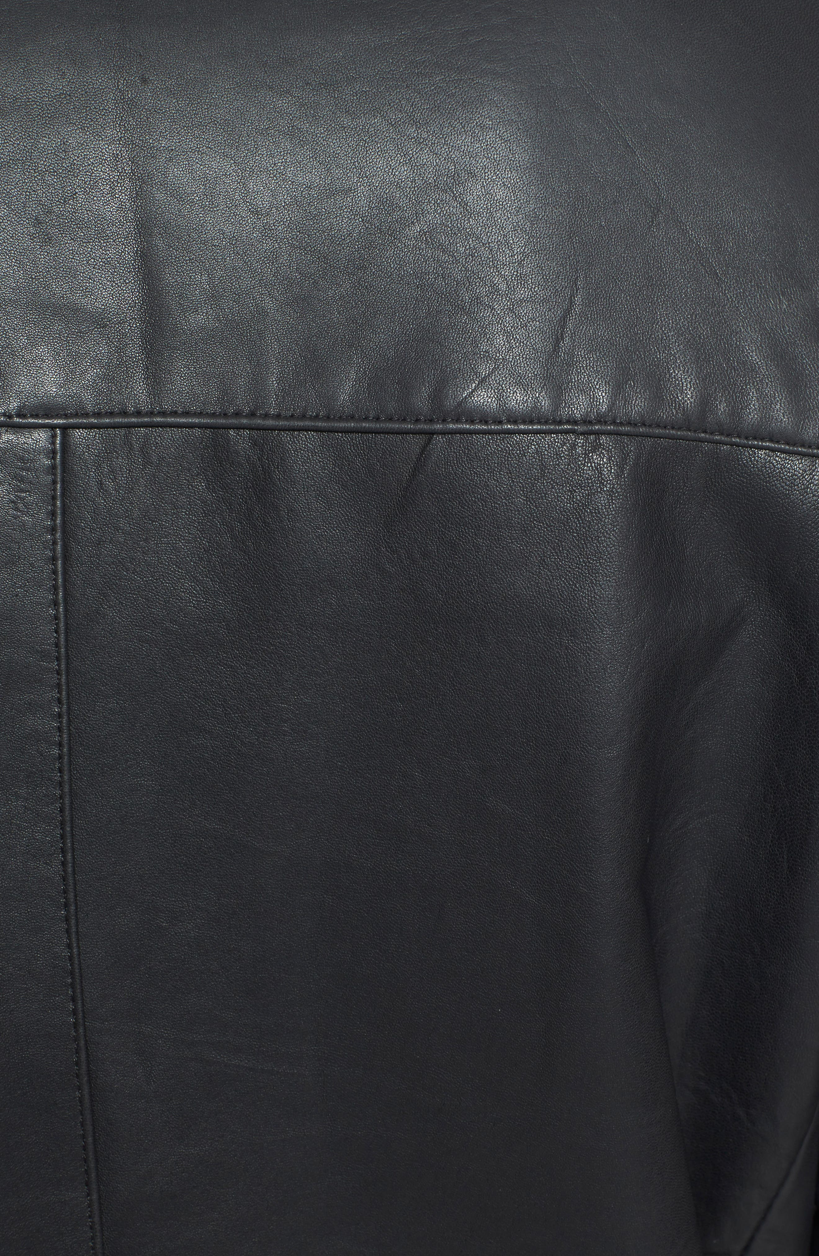 Classic Fit Reversible Leather & Lambswool Car Coat,                             Alternate thumbnail 3, color,                             BLACK