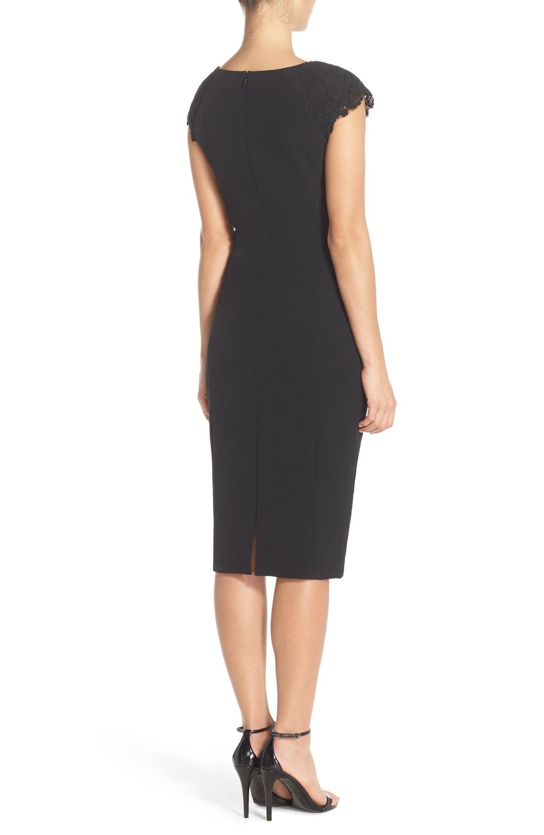 Lace Detail Crepe Sheath Dress,                             Alternate thumbnail 4, color,                             BLACK